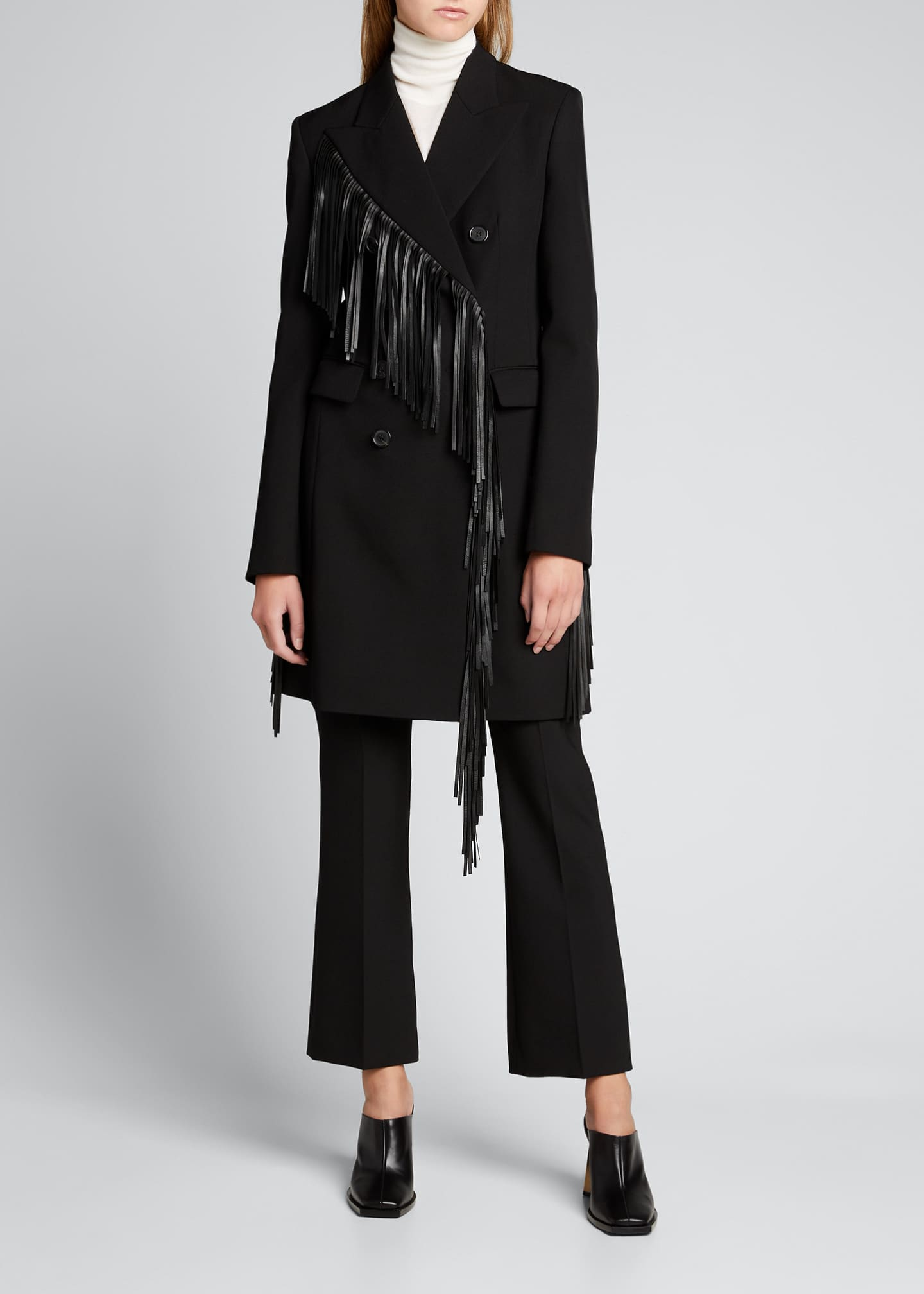 Image 1 of 5: Wool Gabardine Fringed Coat Dress
