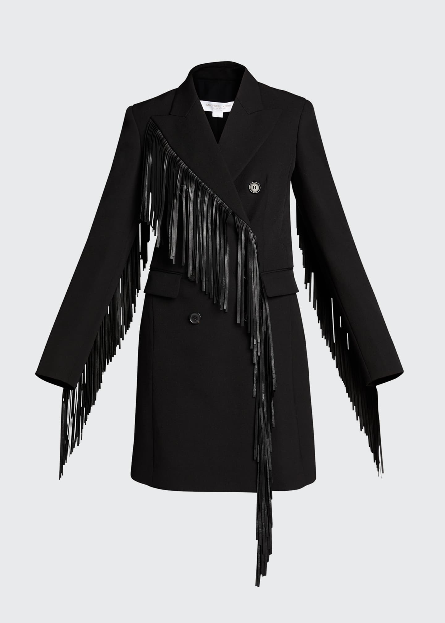 Image 5 of 5: Wool Gabardine Fringed Coat Dress