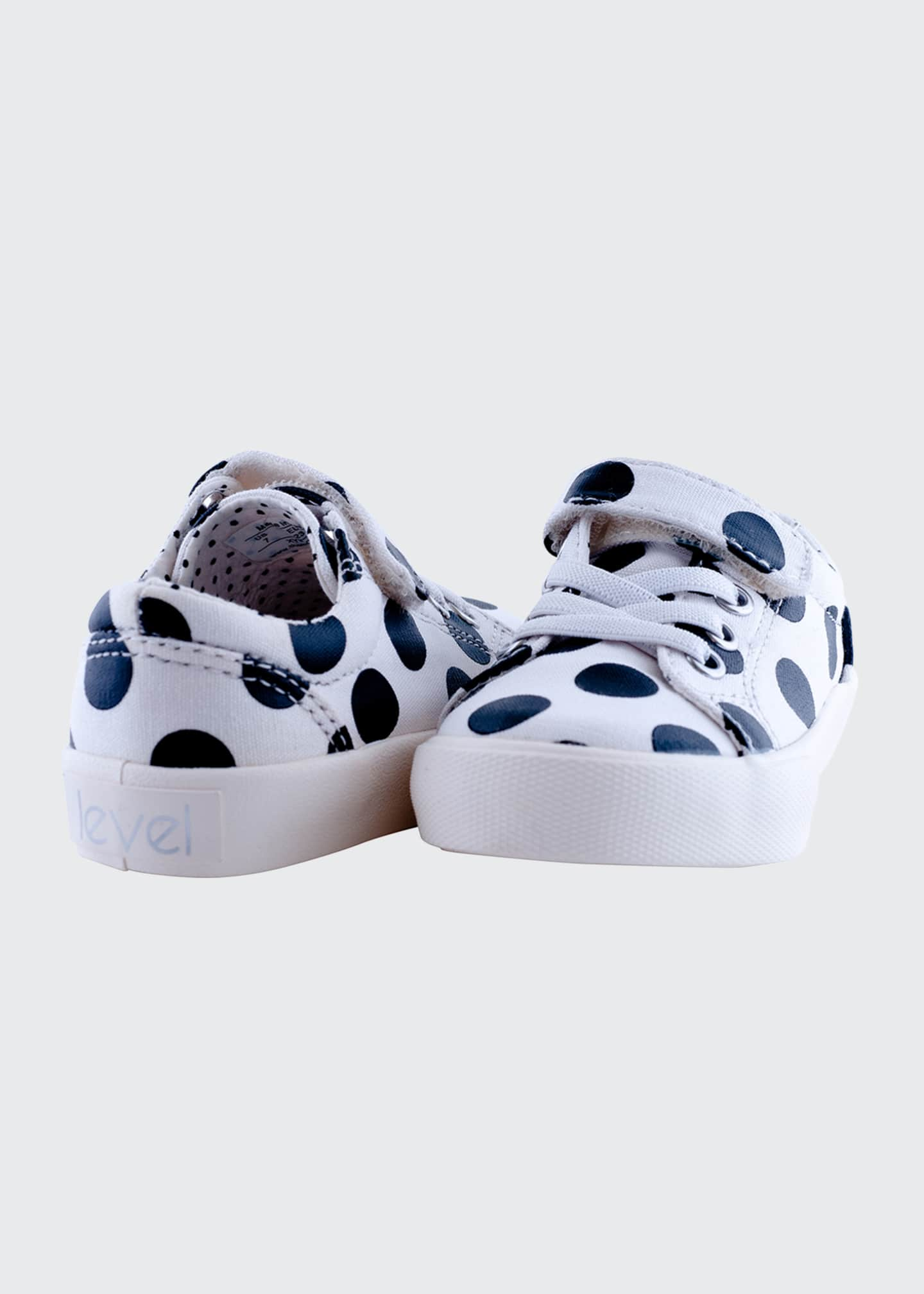 Image 3 of 3: Grace Laminated Polka-Dotted Grip Strap Sneakers, Baby/Toddler/Kids
