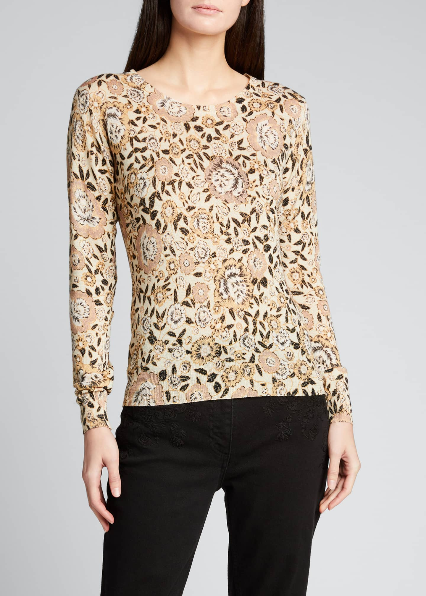 Image 3 of 5: Floral Wool Knit Sweater