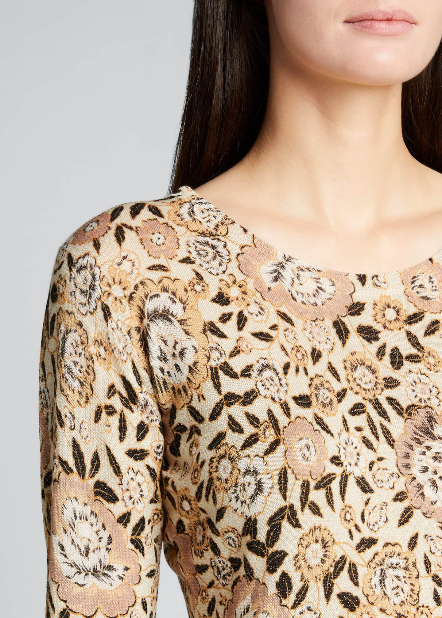 Image 4 of 5: Floral Wool Knit Sweater