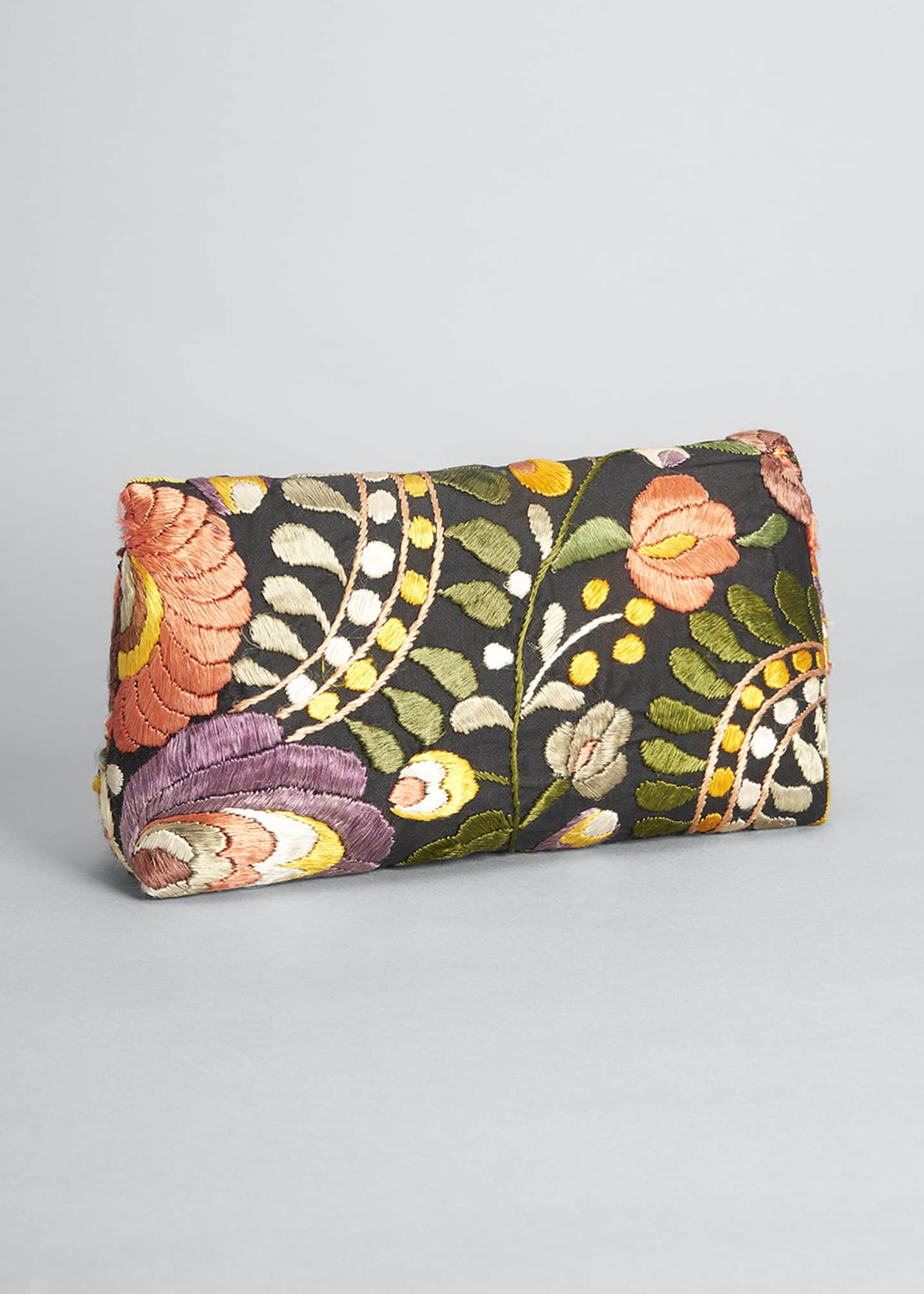 Image 3 of 5: Small Label Floral Embroidered Shoulder Clutch Bag