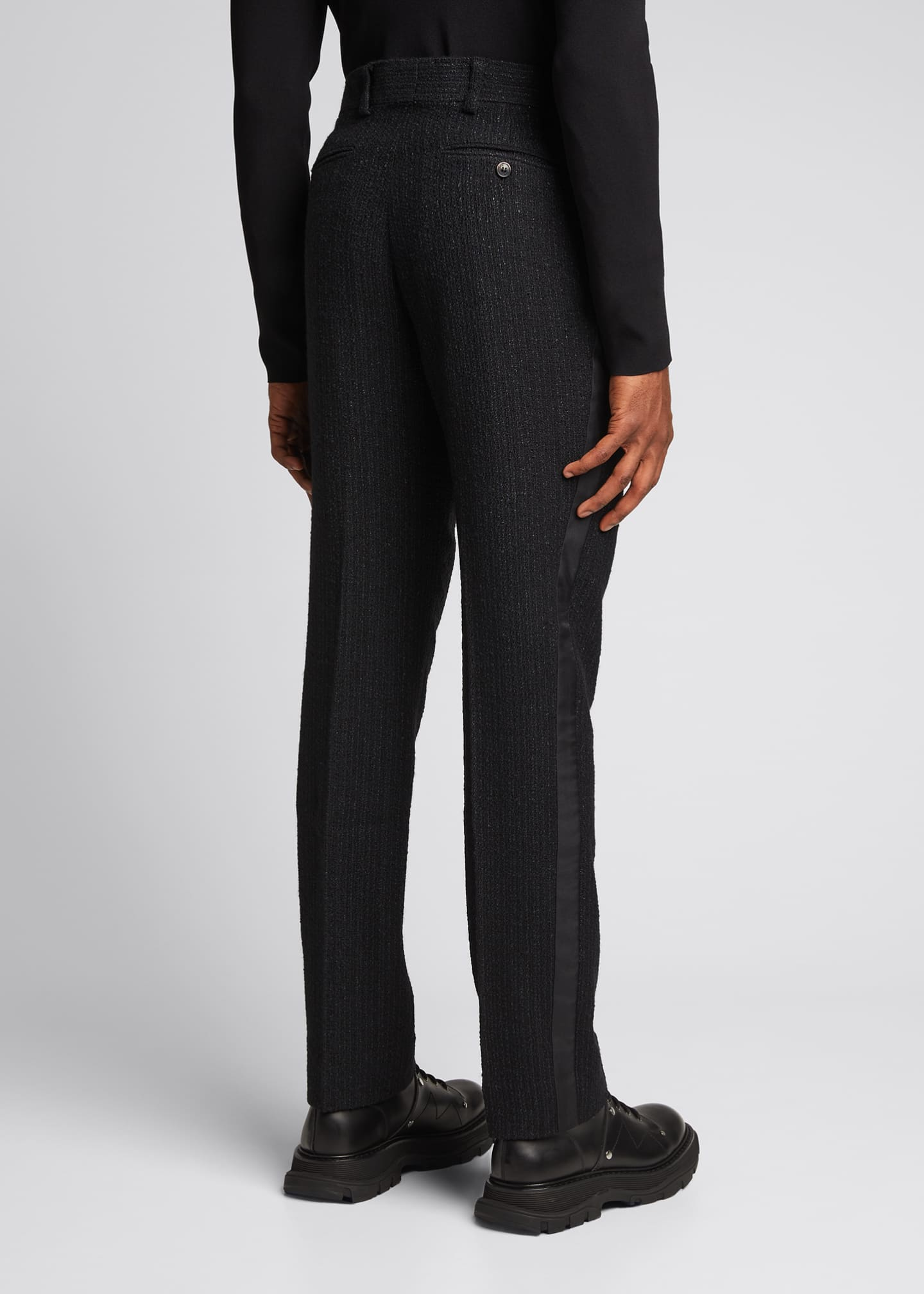 Image 2 of 5: Men's Straight-Leg Boucle Wool-Blend Pants