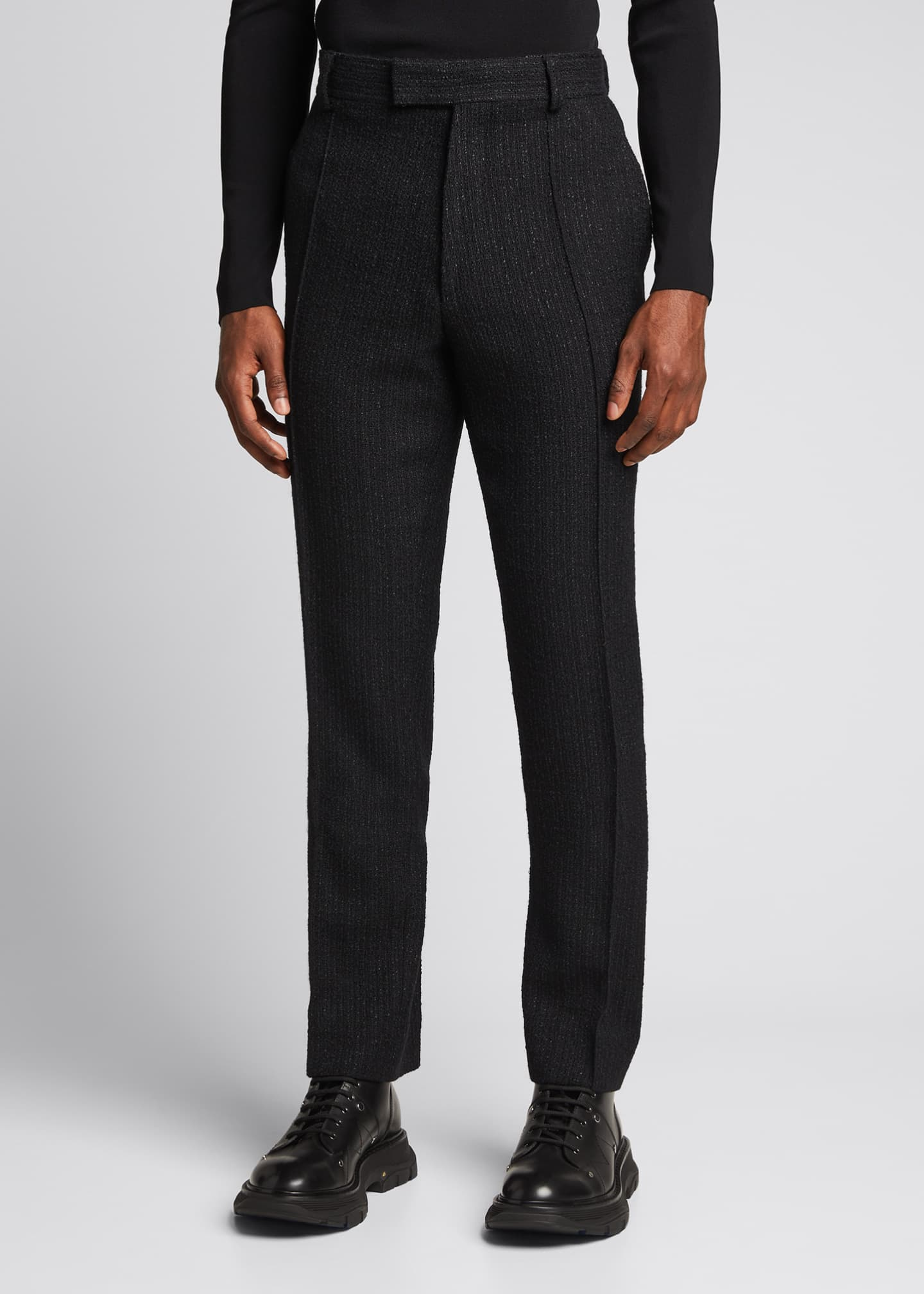 Image 3 of 5: Men's Straight-Leg Boucle Wool-Blend Pants