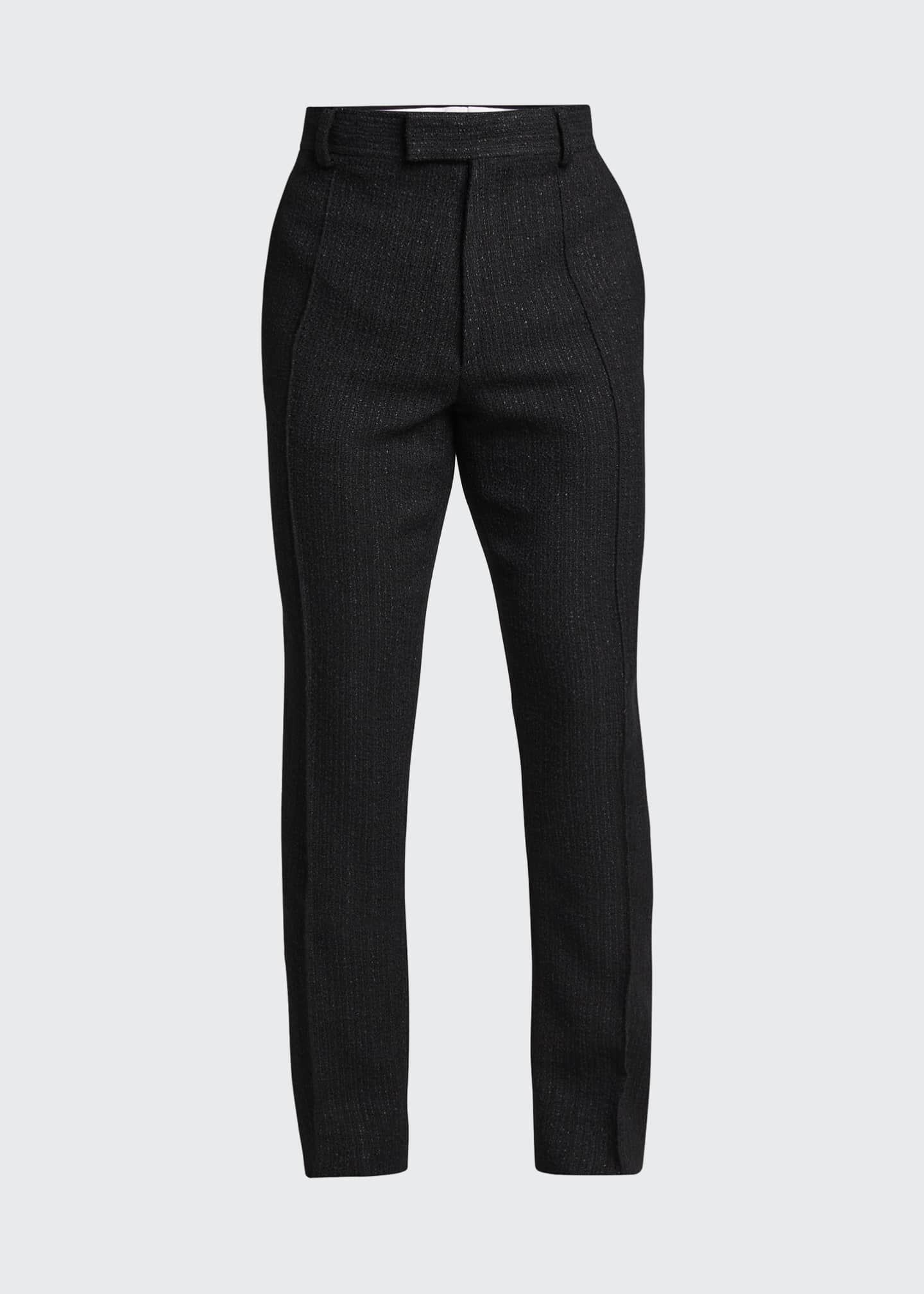 Image 5 of 5: Men's Straight-Leg Boucle Wool-Blend Pants