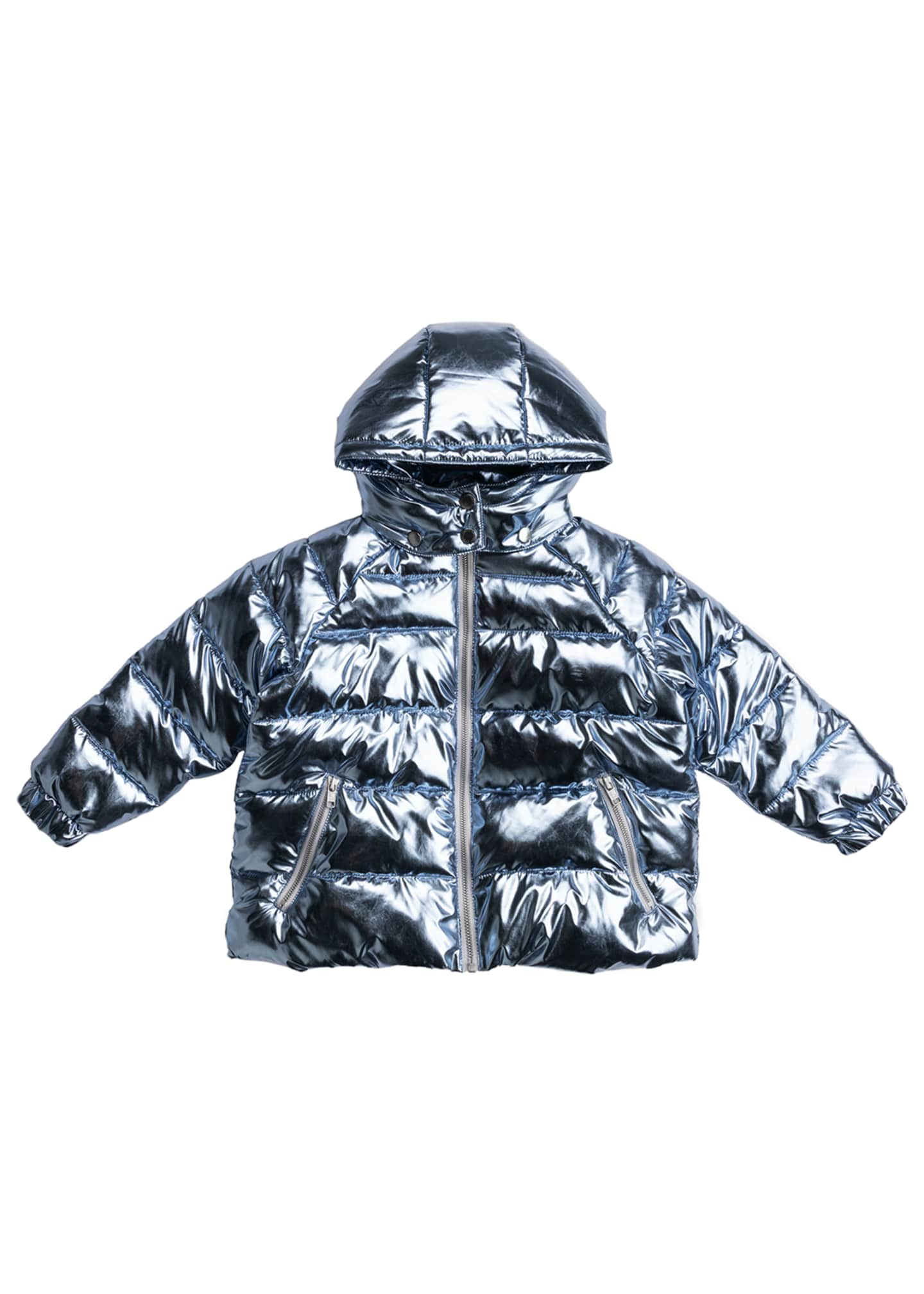 Image 1 of 1: Girl's Oversized Foil Quilted Puffer Hooded Jacket, Size 4-14