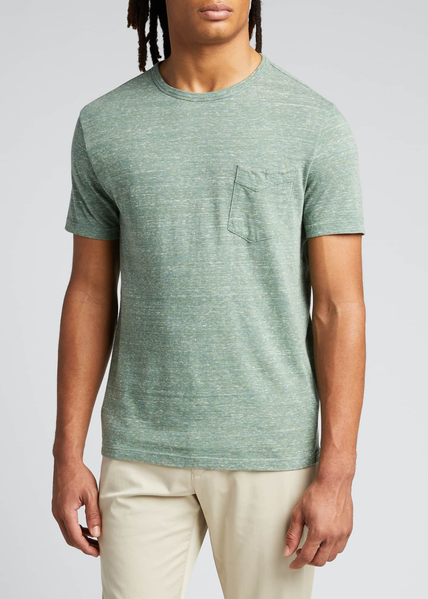 Image 3 of 5: Men's Light Green Cotton Jersey Slub T-Shirt