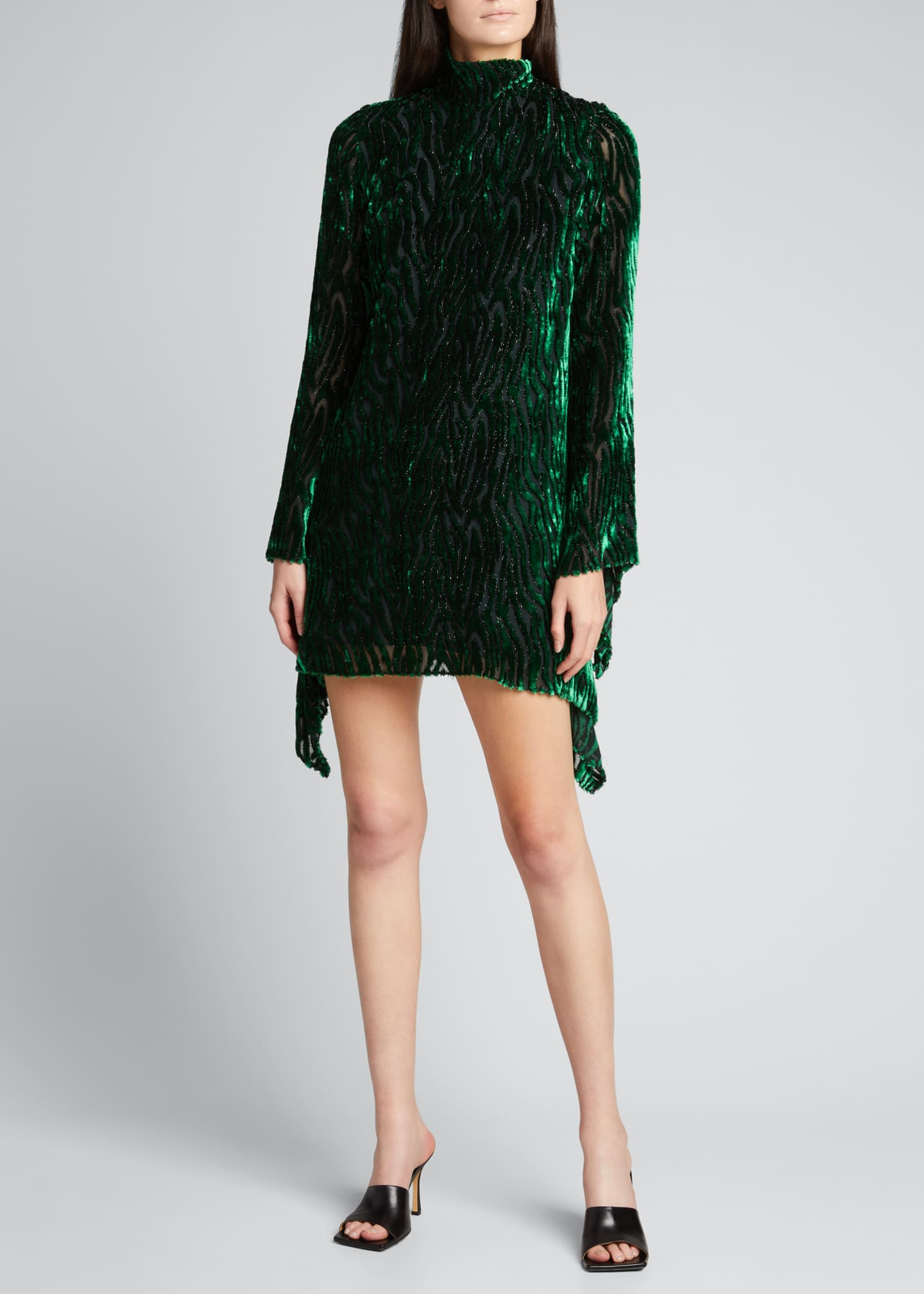 Image 1 of 5: Velvet Burnout Long-Sleeve Mini Dress