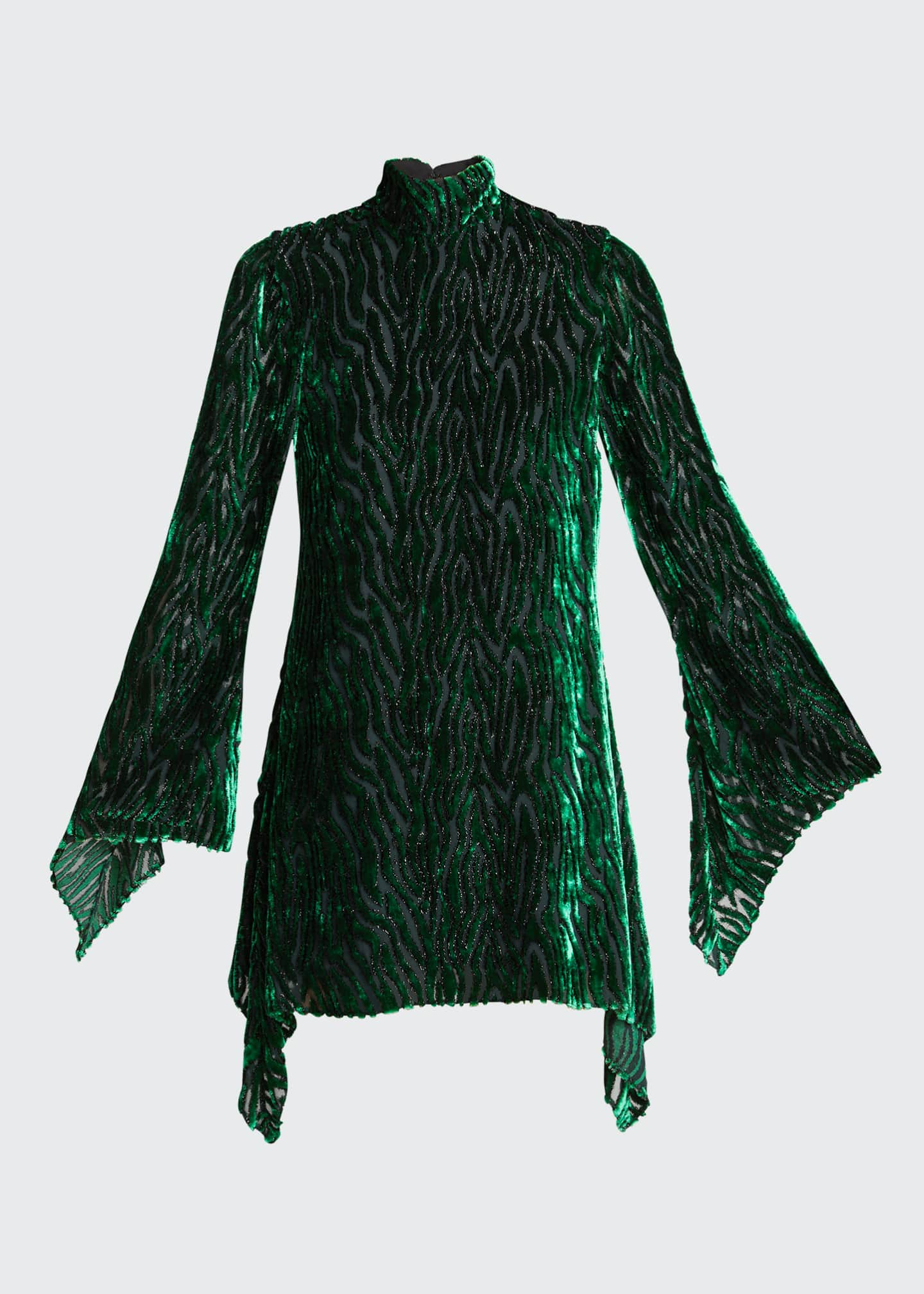 Image 5 of 5: Velvet Burnout Long-Sleeve Mini Dress