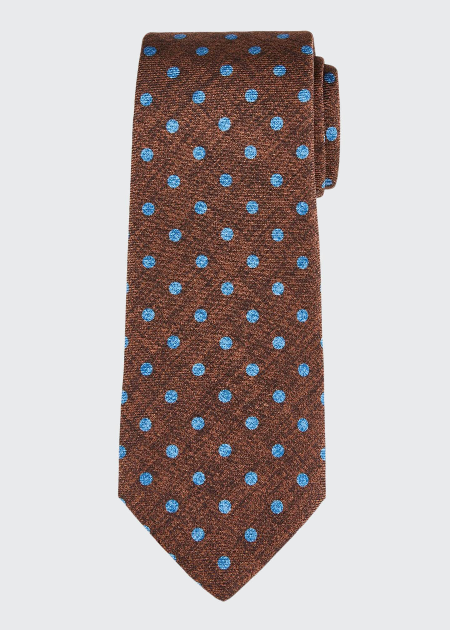 Image 1 of 1: Men's Polka Dot Silk Tie