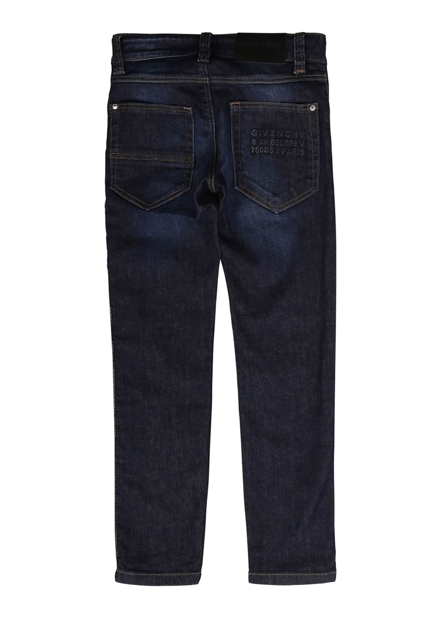 Image 2 of 2: Boy's Slim Fit Denim Jeans w/ Logo Side Tape, Size 4-10