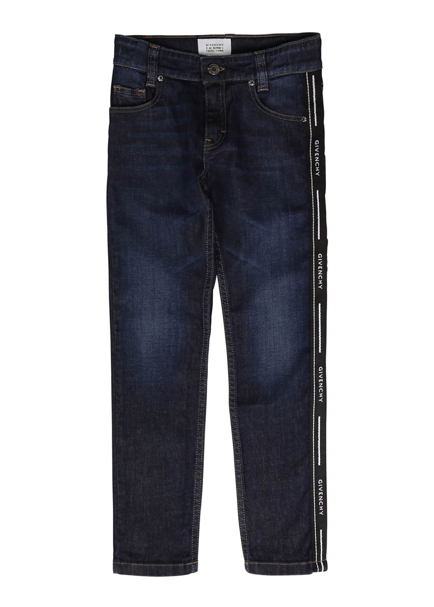 Image 1 of 2: Boy's Slim Fit Denim Jeans w/ Logo Side Tape, Size 4-10