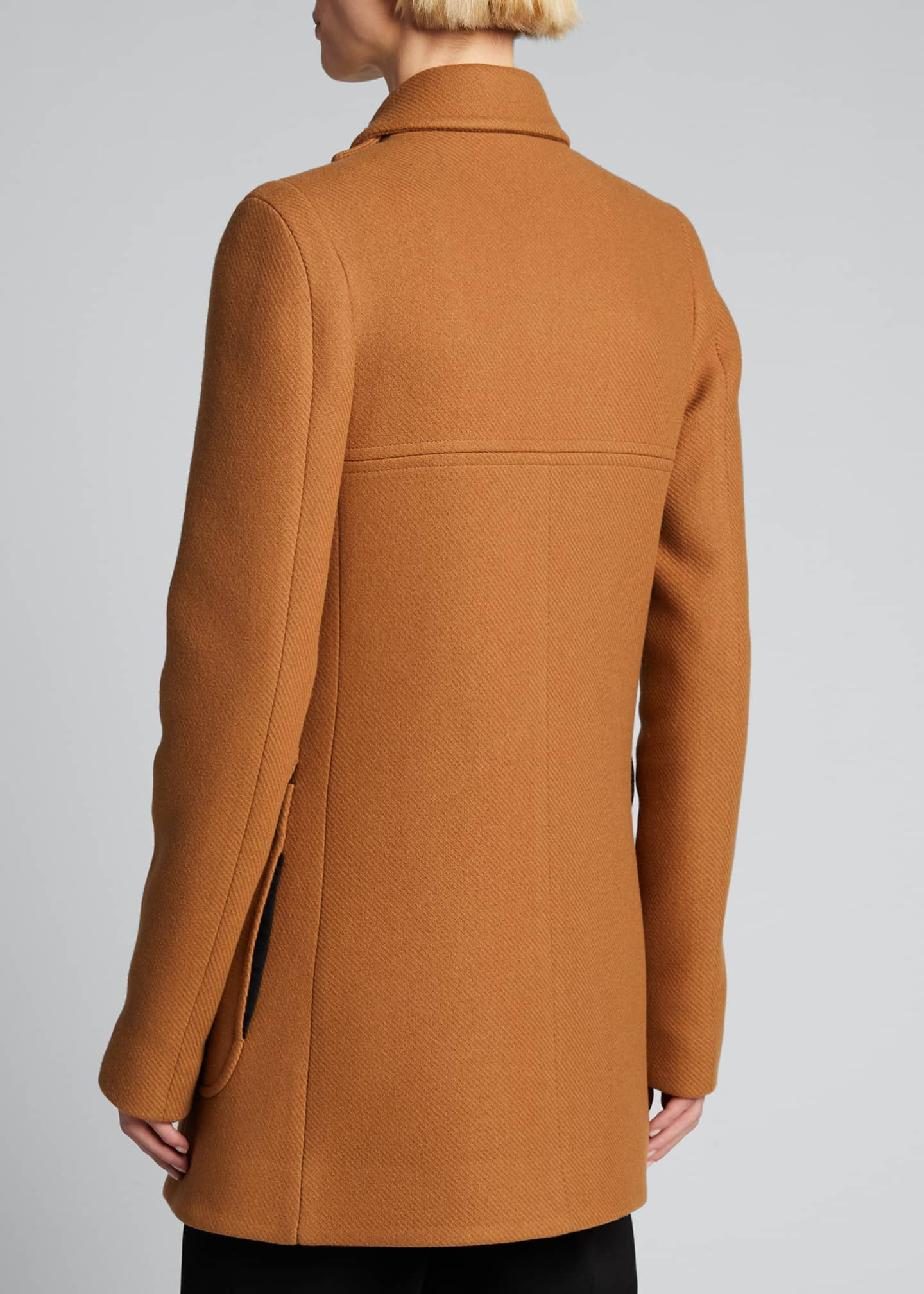 Image 2 of 4: Mixed-Button Double-Breasted Wool Coat