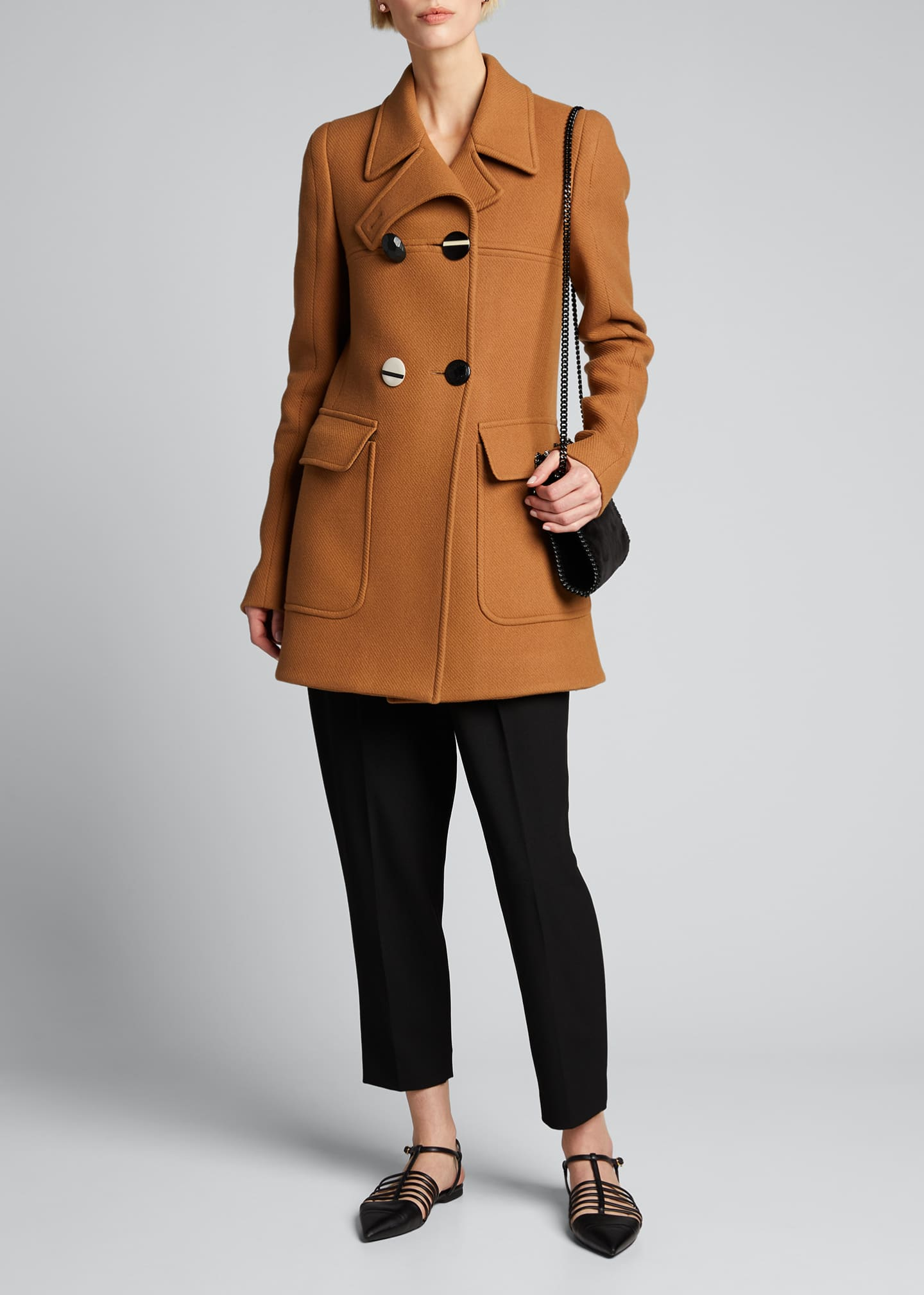 Image 1 of 4: Mixed-Button Double-Breasted Wool Coat