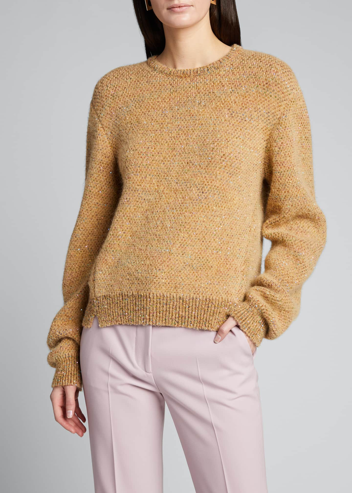 Image 3 of 5: Sequins Crewneck Knit Sweater