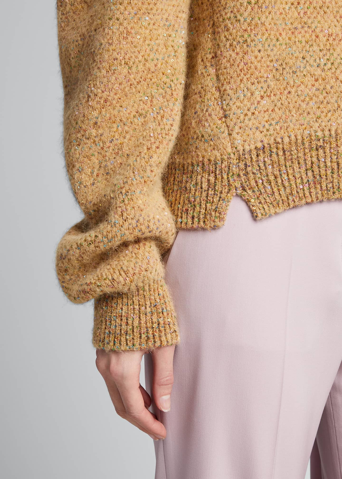 Image 4 of 5: Sequins Crewneck Knit Sweater