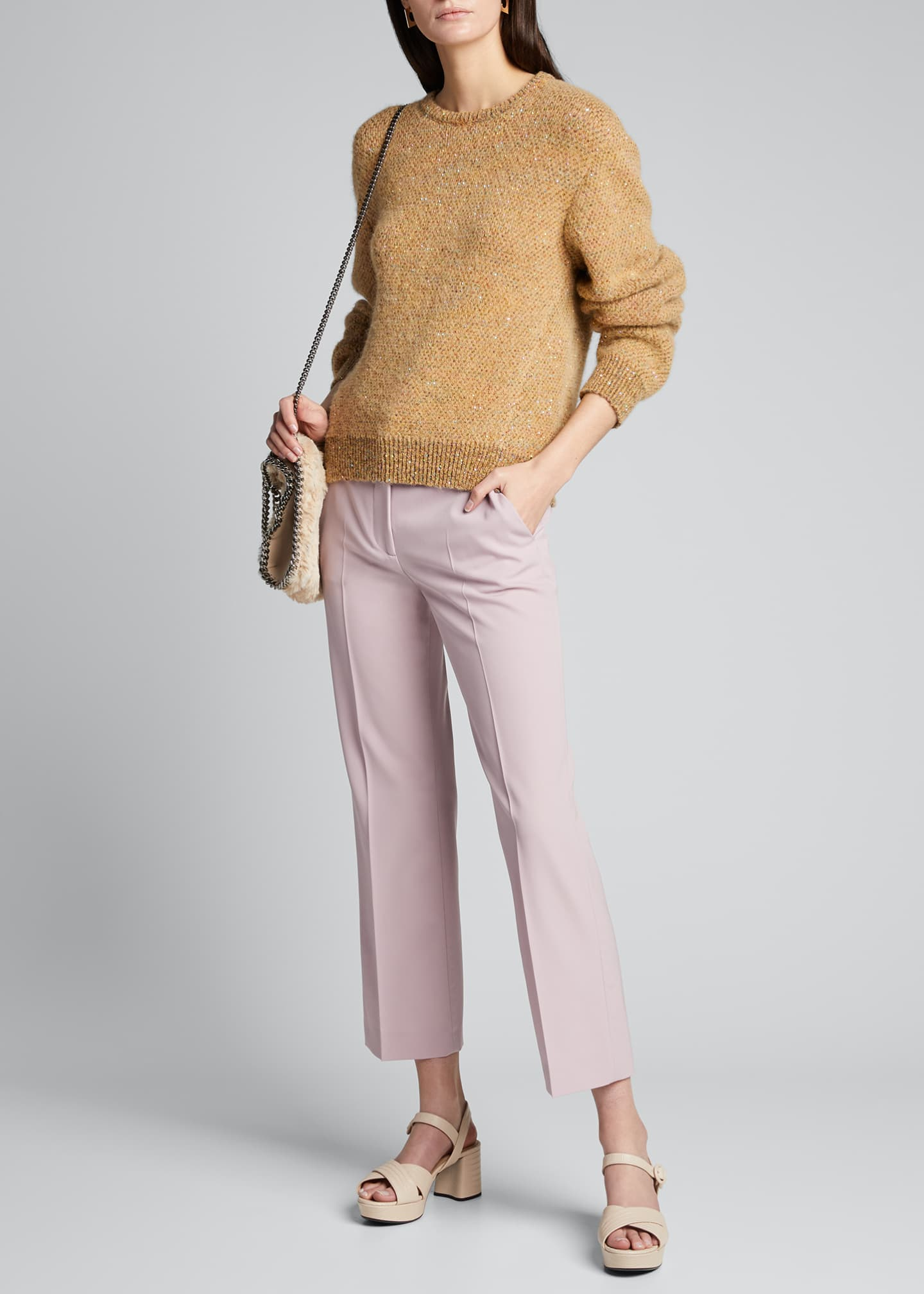 Image 1 of 5: Sequins Crewneck Knit Sweater
