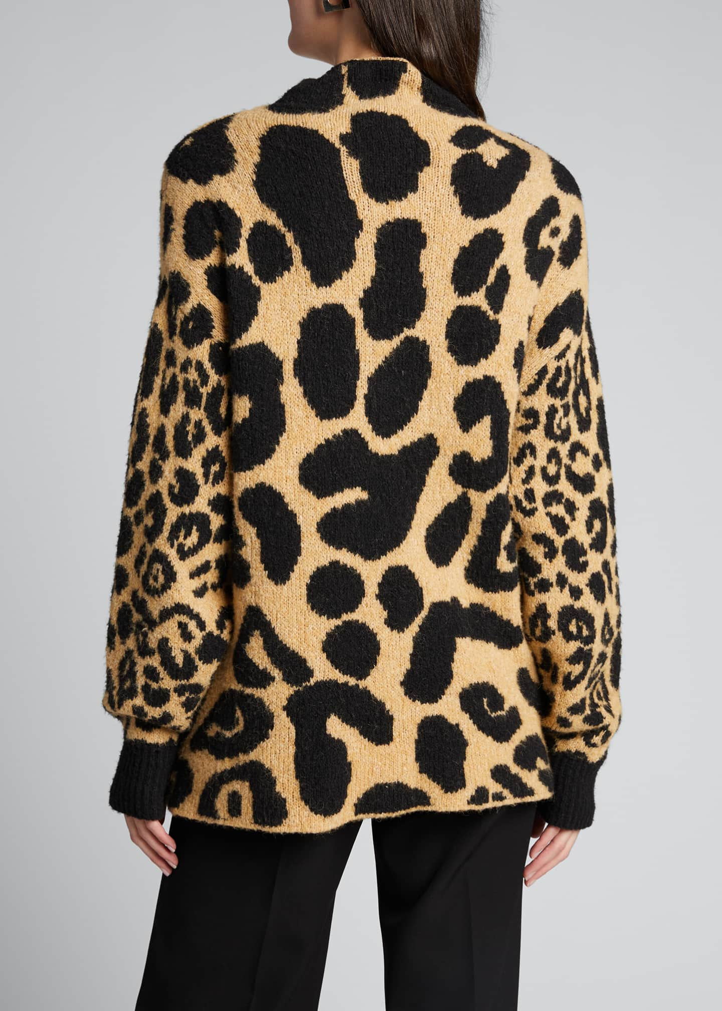 Image 2 of 5: Leopard-Print Mock-Neck Sweater