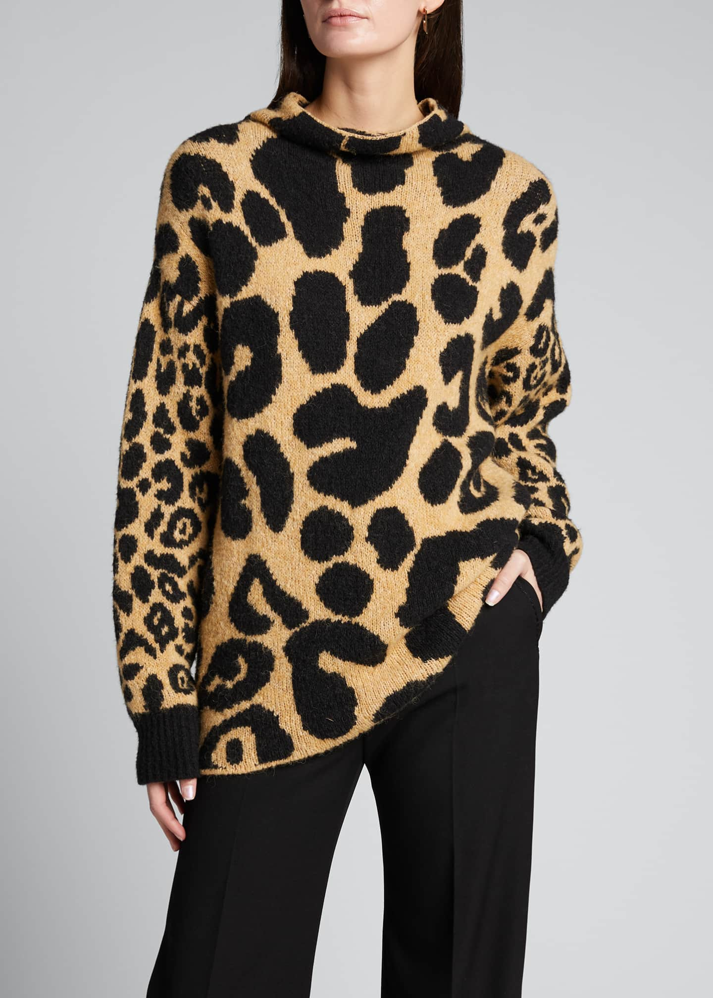Image 3 of 5: Leopard-Print Mock-Neck Sweater