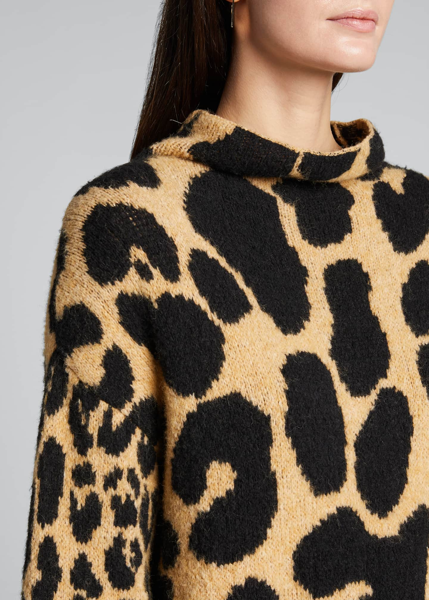 Image 4 of 5: Leopard-Print Mock-Neck Sweater