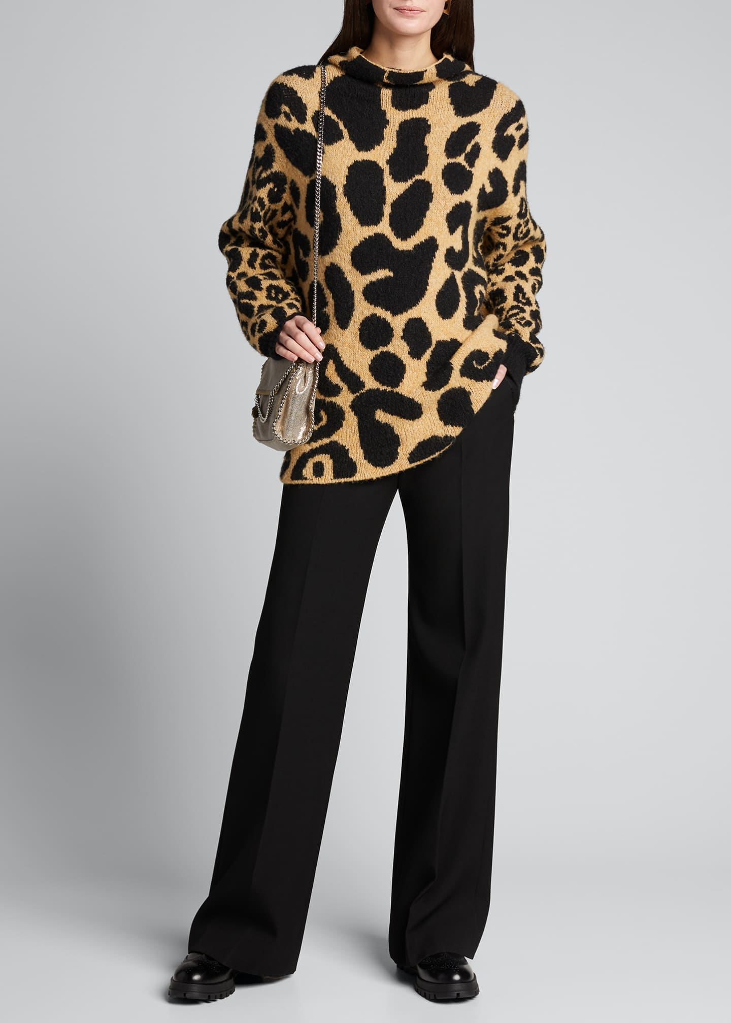 Image 1 of 5: Leopard-Print Mock-Neck Sweater