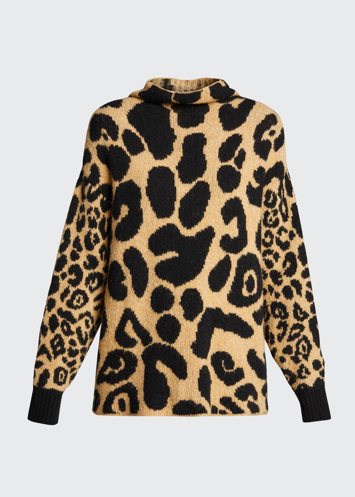 Image 5 of 5: Leopard-Print Mock-Neck Sweater