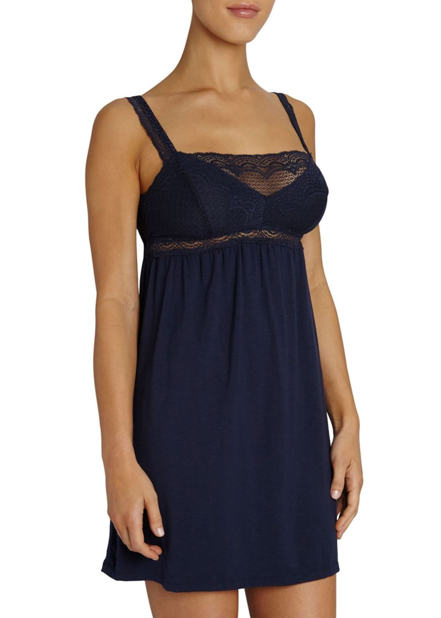 Image 1 of 2: Cecilia Lace-Trim Straight-line Chemise