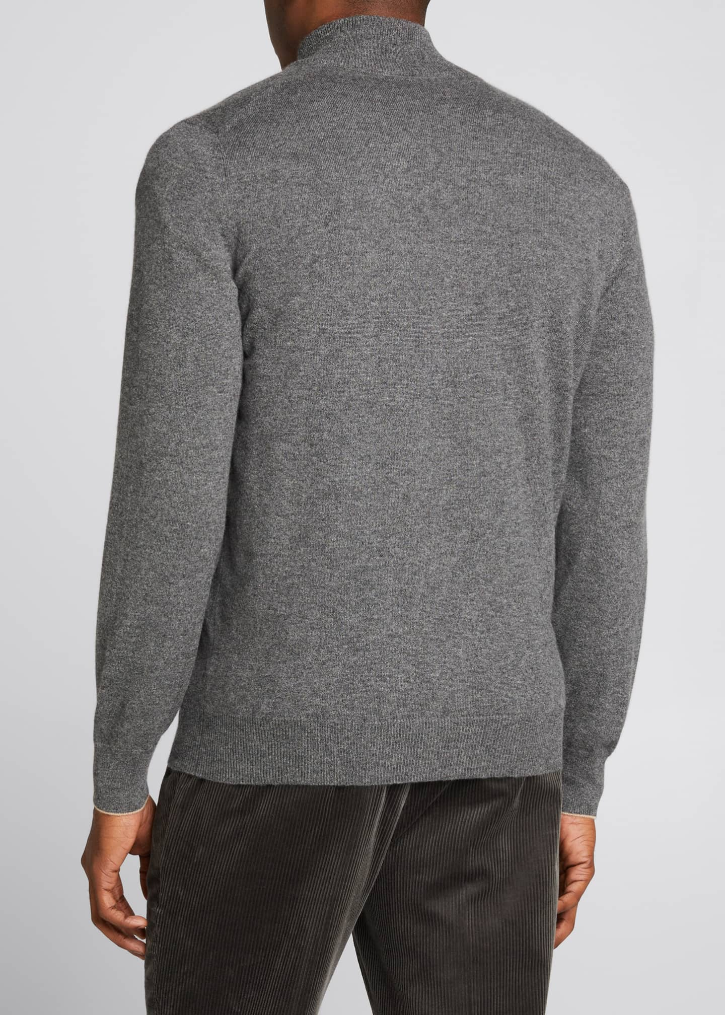 Image 2 of 5: Men's Solid Cashmere Zip-Front Sweater