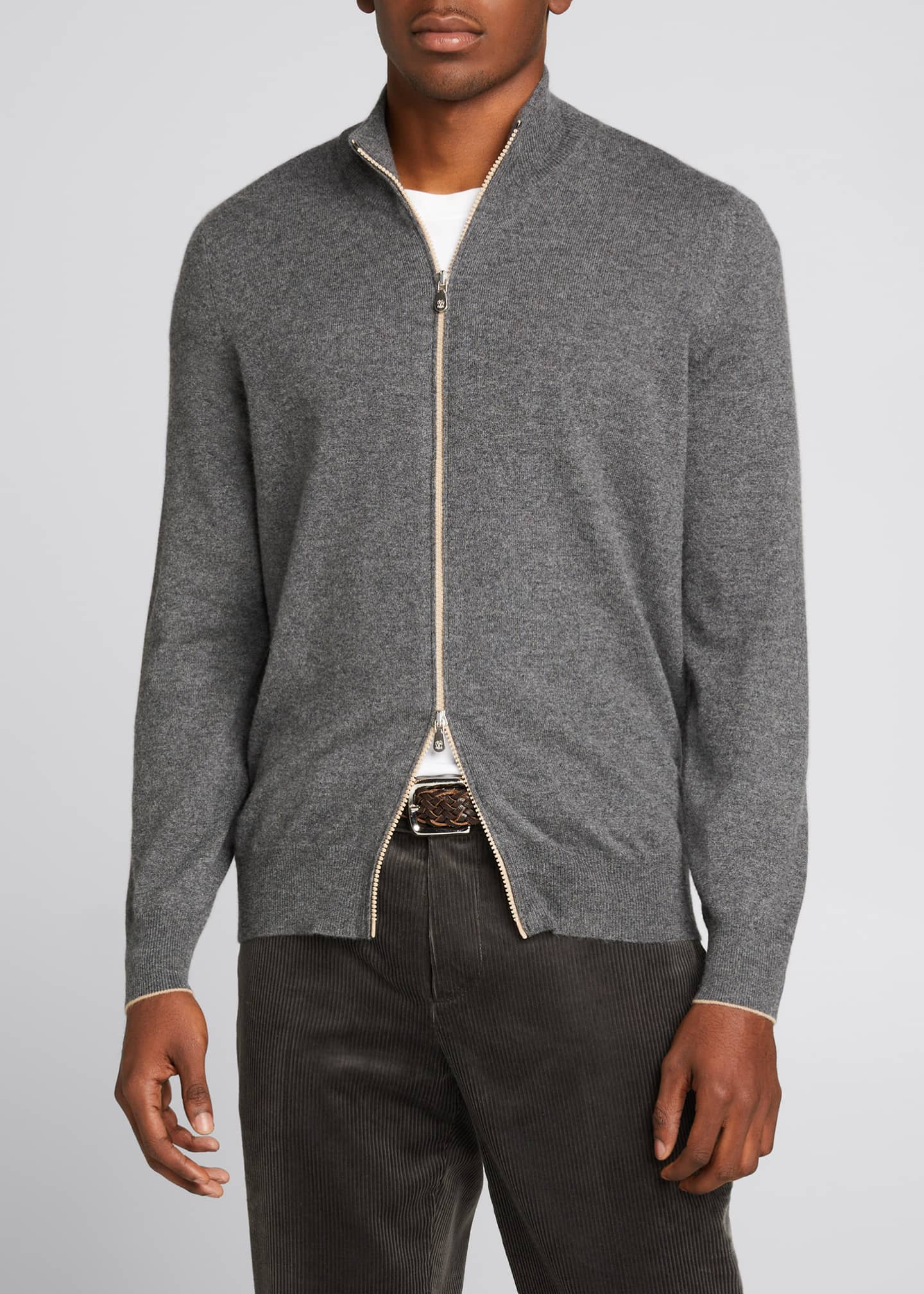 Image 3 of 5: Men's Solid Cashmere Zip-Front Sweater