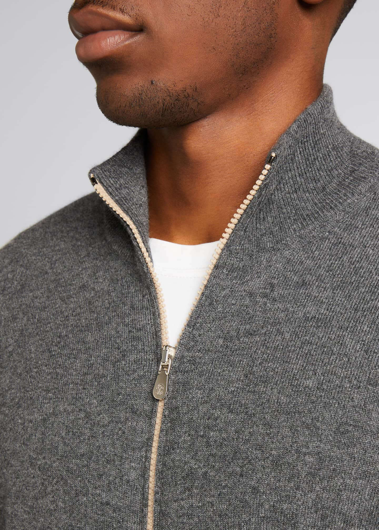 Image 4 of 5: Men's Solid Cashmere Zip-Front Sweater