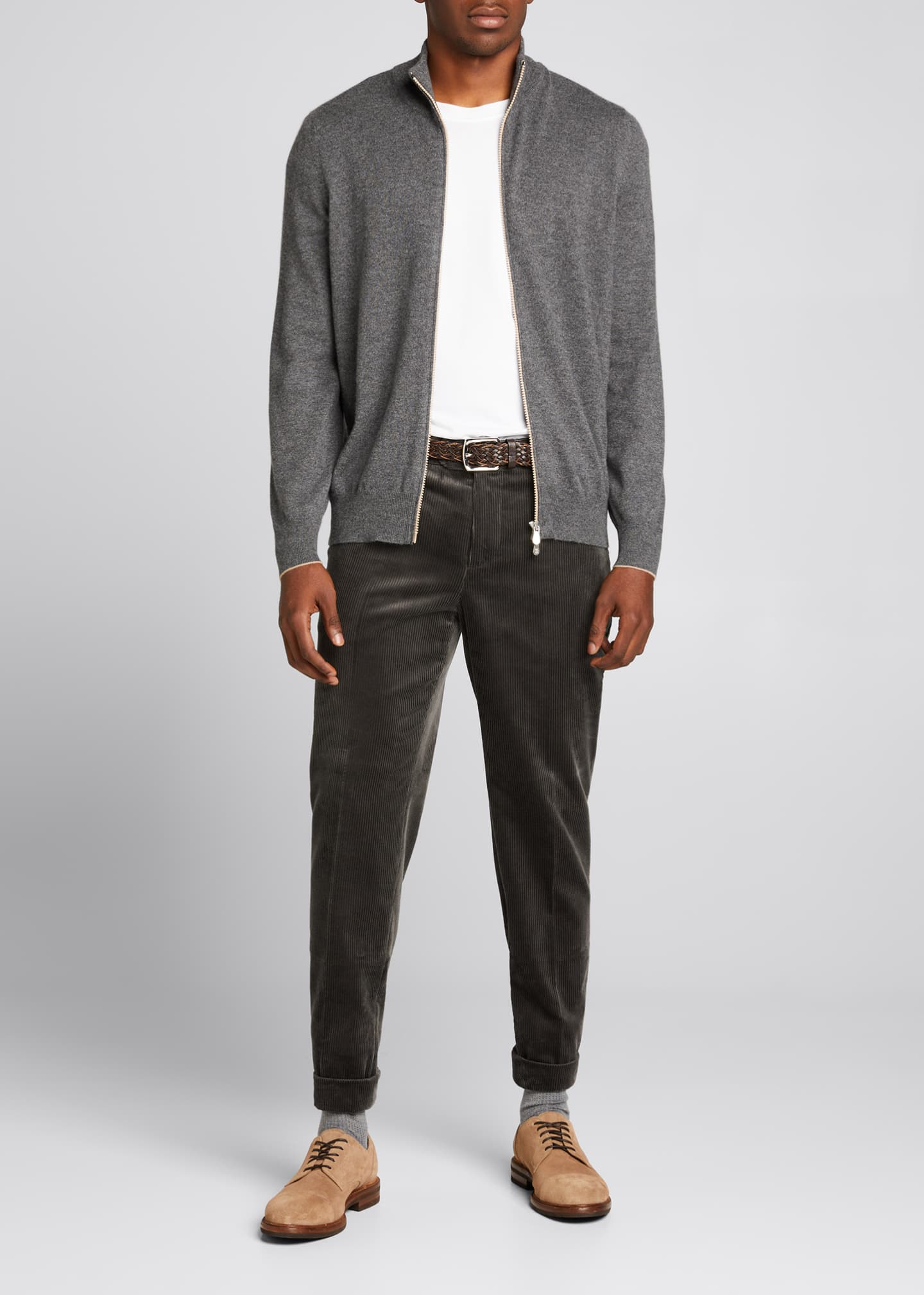 Image 1 of 5: Men's Solid Cashmere Zip-Front Sweater