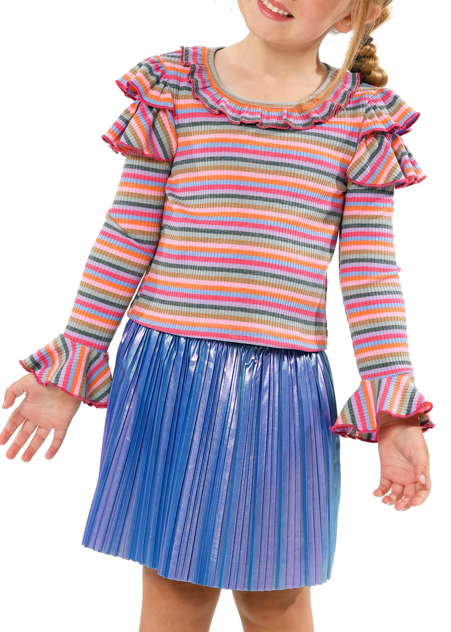 Image 2 of 3: Girl's Stripe Trumpet-Sleeve Ribbed Knit Ruffle Top, Size 4-6X