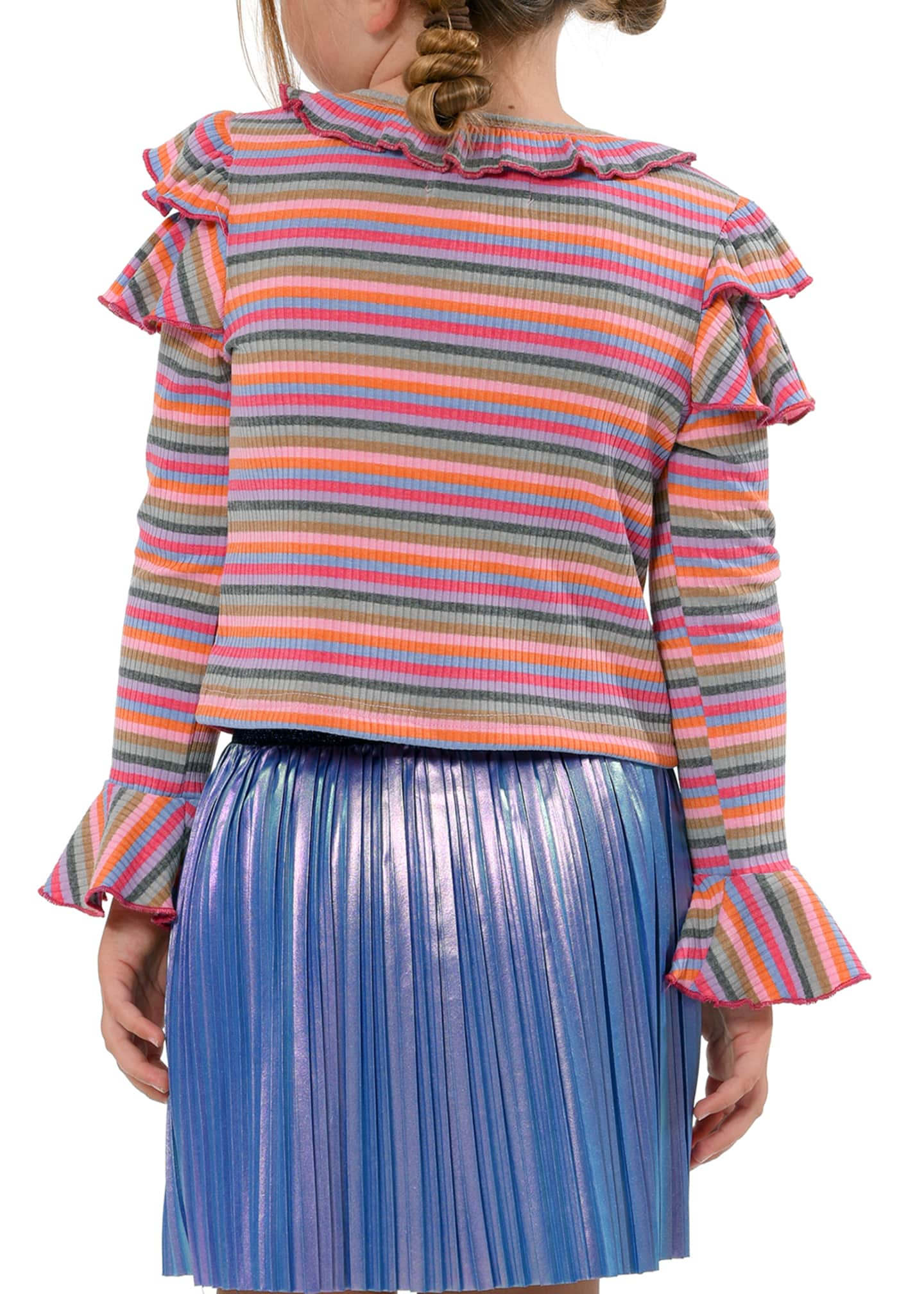 Image 3 of 3: Girl's Stripe Trumpet-Sleeve Ribbed Knit Ruffle Top, Size 4-6X