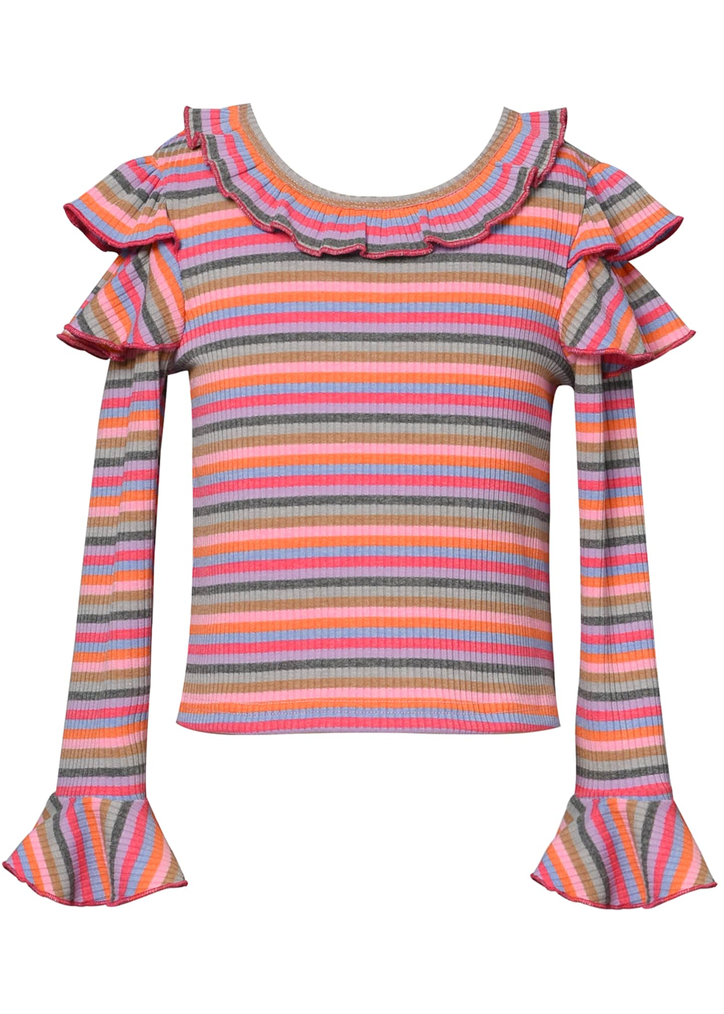 Image 1 of 3: Girl's Stripe Trumpet-Sleeve Ribbed Knit Ruffle Top, Size 4-6X
