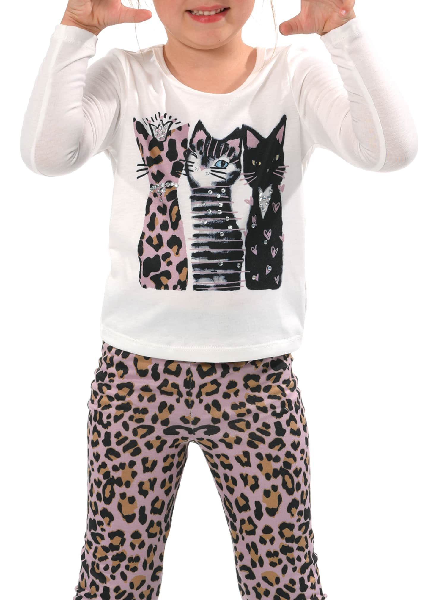 Image 2 of 3: Girl's 3 Cats Long-Sleeve Graphic T-Shirt, Size 7-14