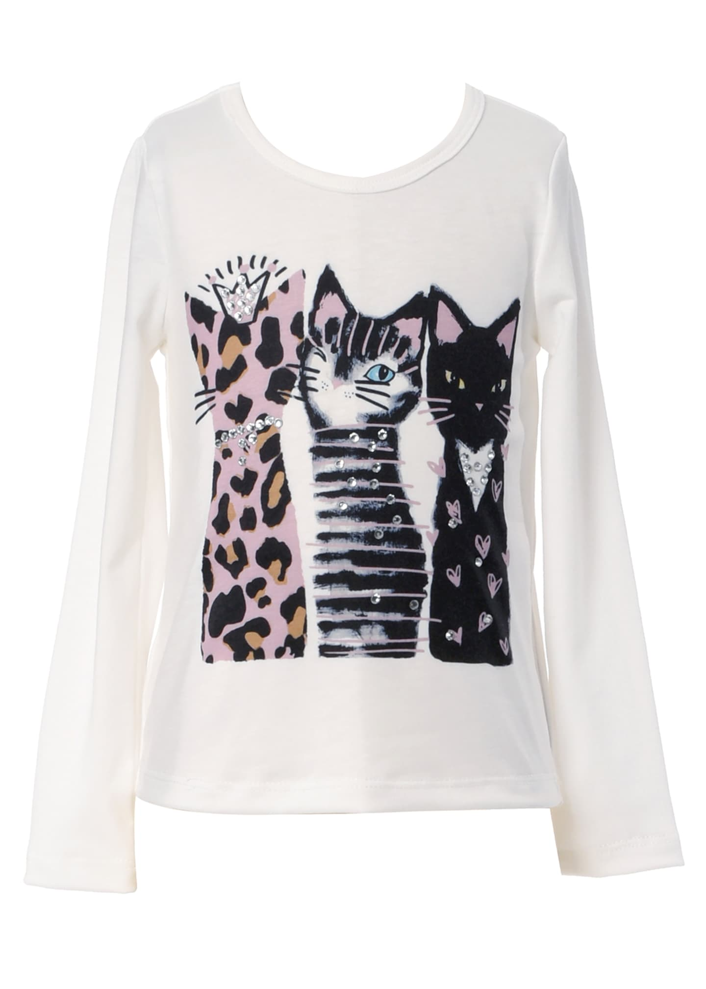 Image 1 of 3: Girl's 3 Cats Long-Sleeve Graphic T-Shirt, Size 7-14