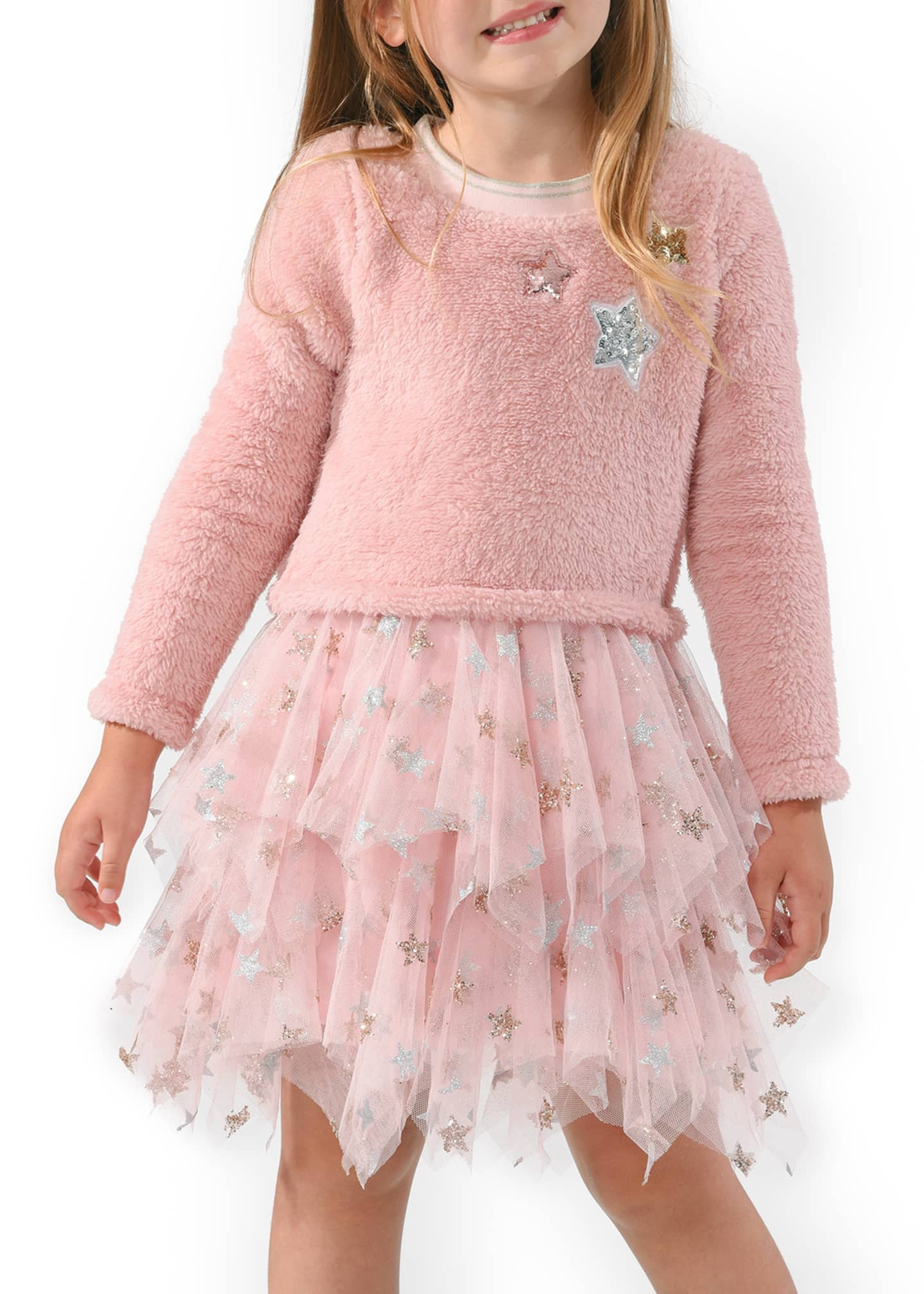 Image 2 of 3: Girl's Star Sherpa Tulle Dress, Size 4-6X