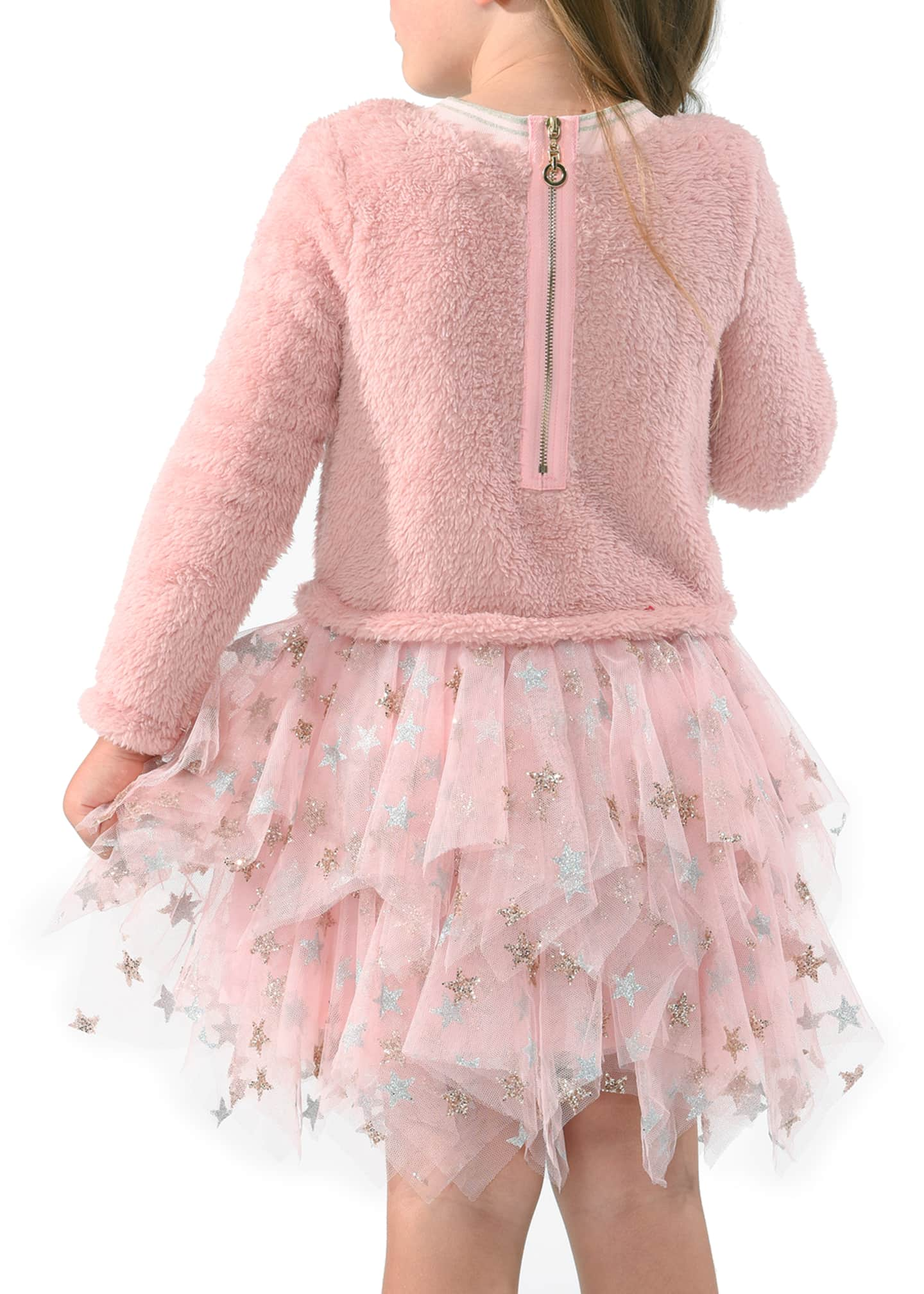 Image 3 of 3: Girl's Star Sherpa Tulle Dress, Size 4-6X