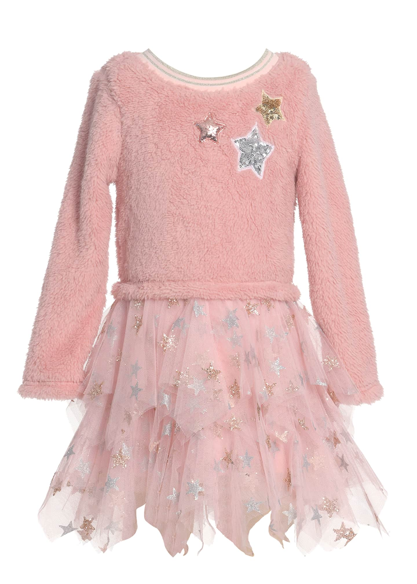 Image 1 of 3: Girl's Star Sherpa Tulle Dress, Size 4-6X