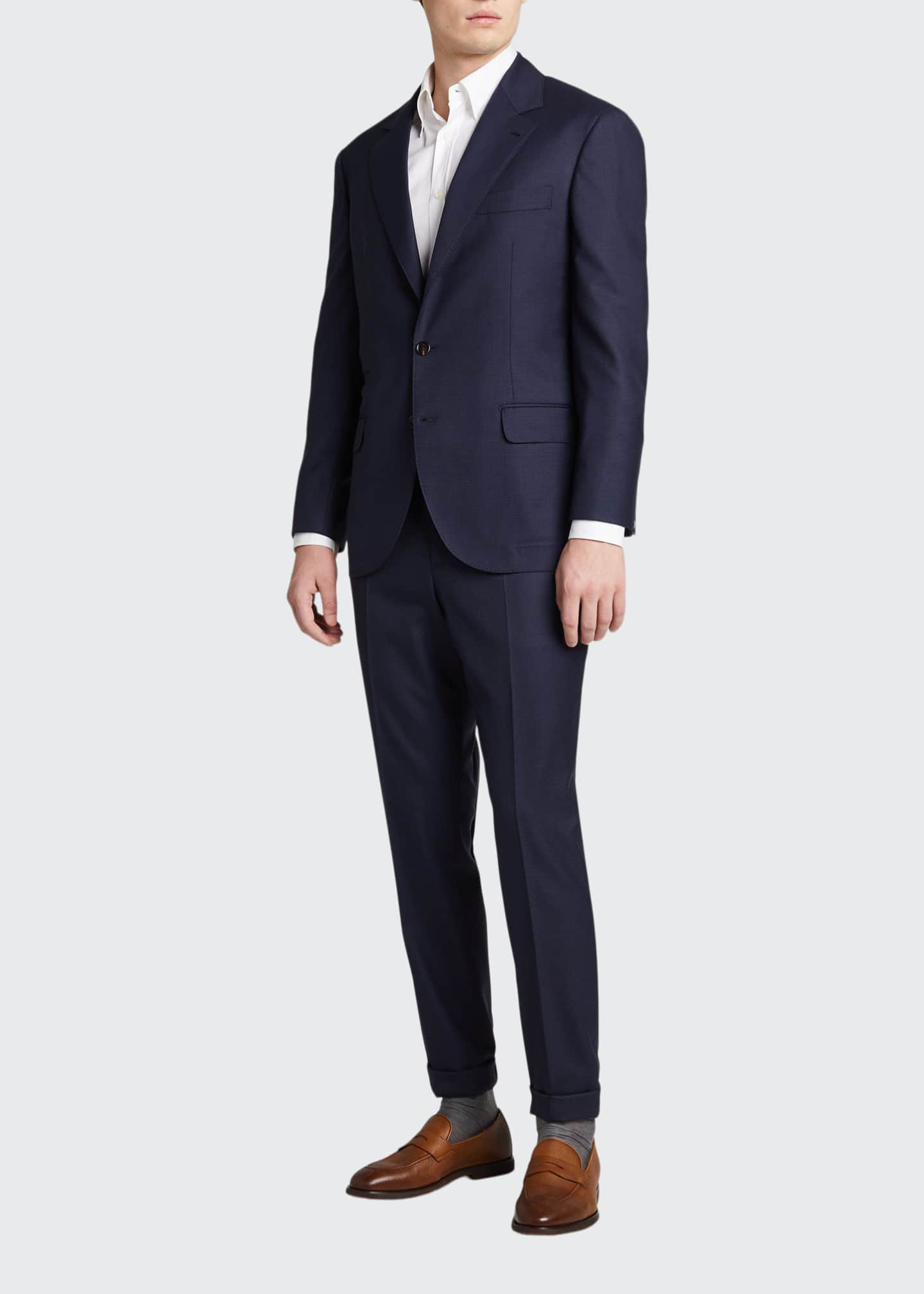 Image 1 of 5: Men's Houndstooth Wool Two-Piece Suit