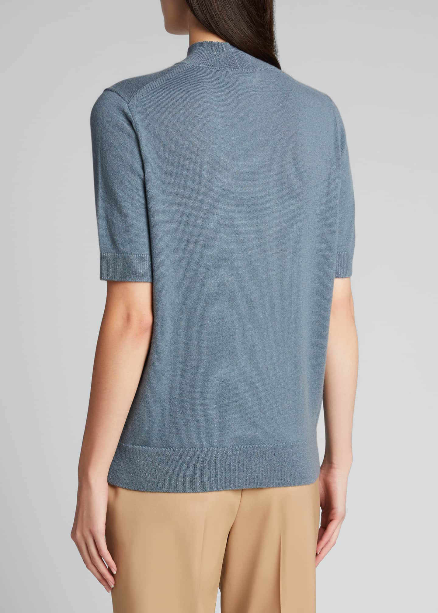 Image 2 of 5: Cashmere Mock-Neck Sweater with Metallic