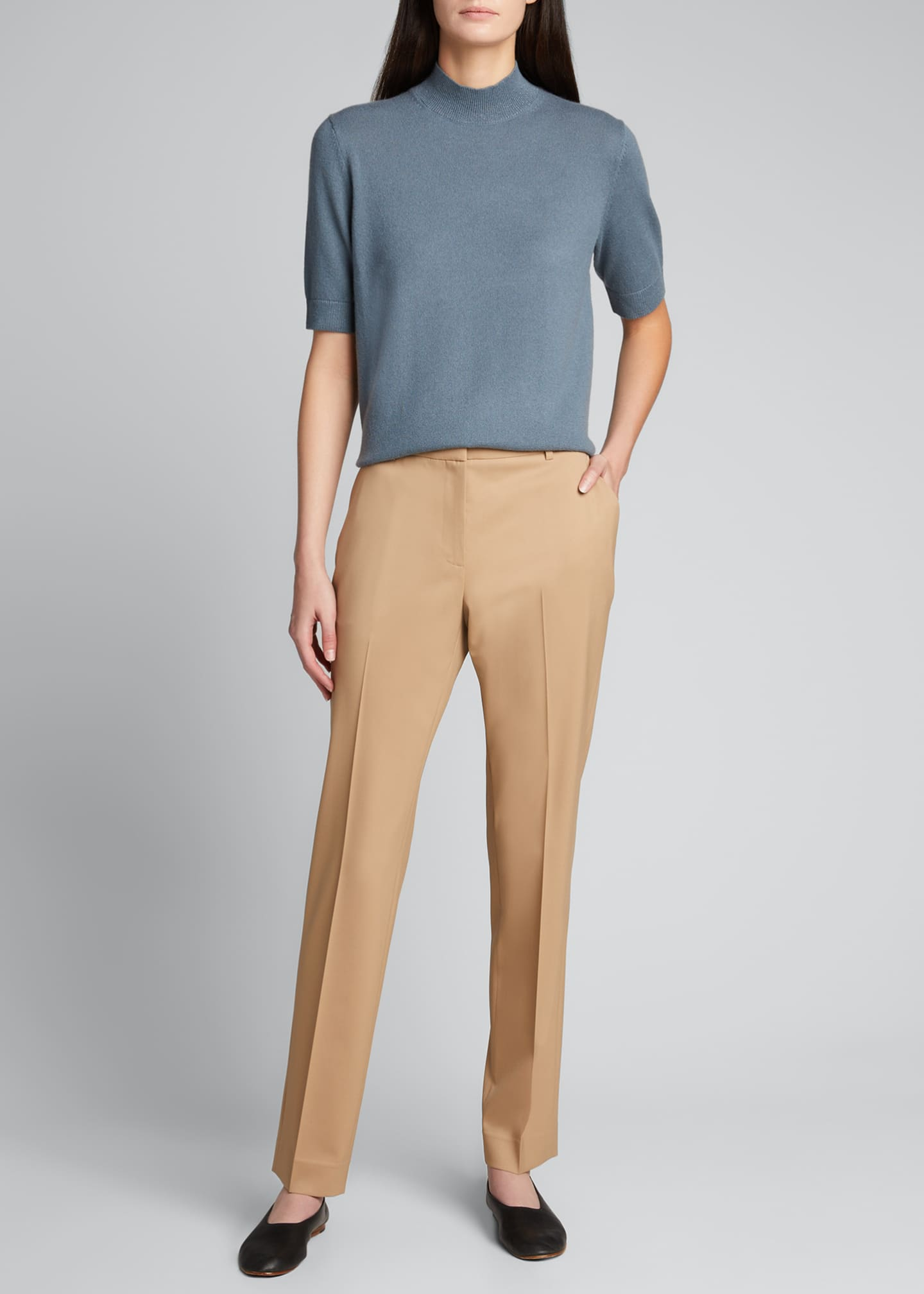 Image 1 of 5: Cashmere Mock-Neck Sweater with Metallic
