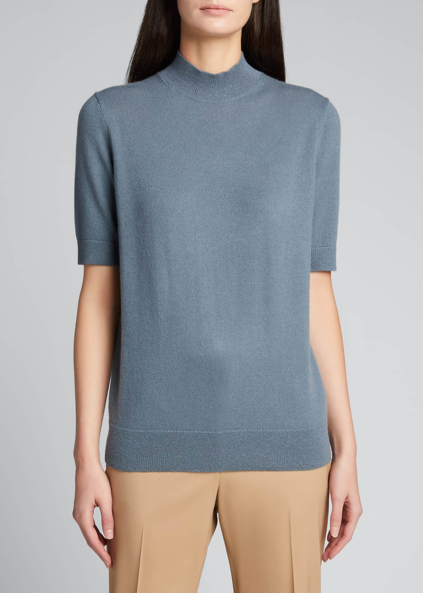Image 3 of 5: Cashmere Mock-Neck Sweater with Metallic