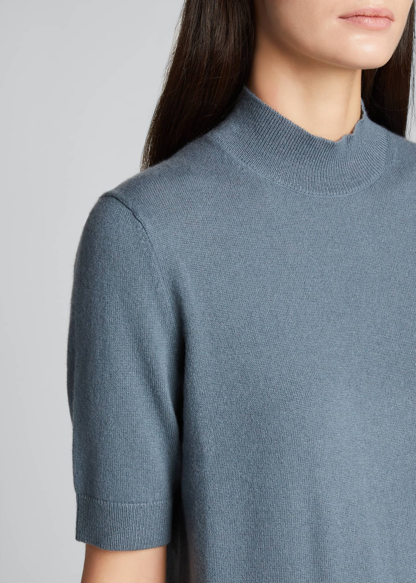 Image 4 of 5: Cashmere Mock-Neck Sweater with Metallic