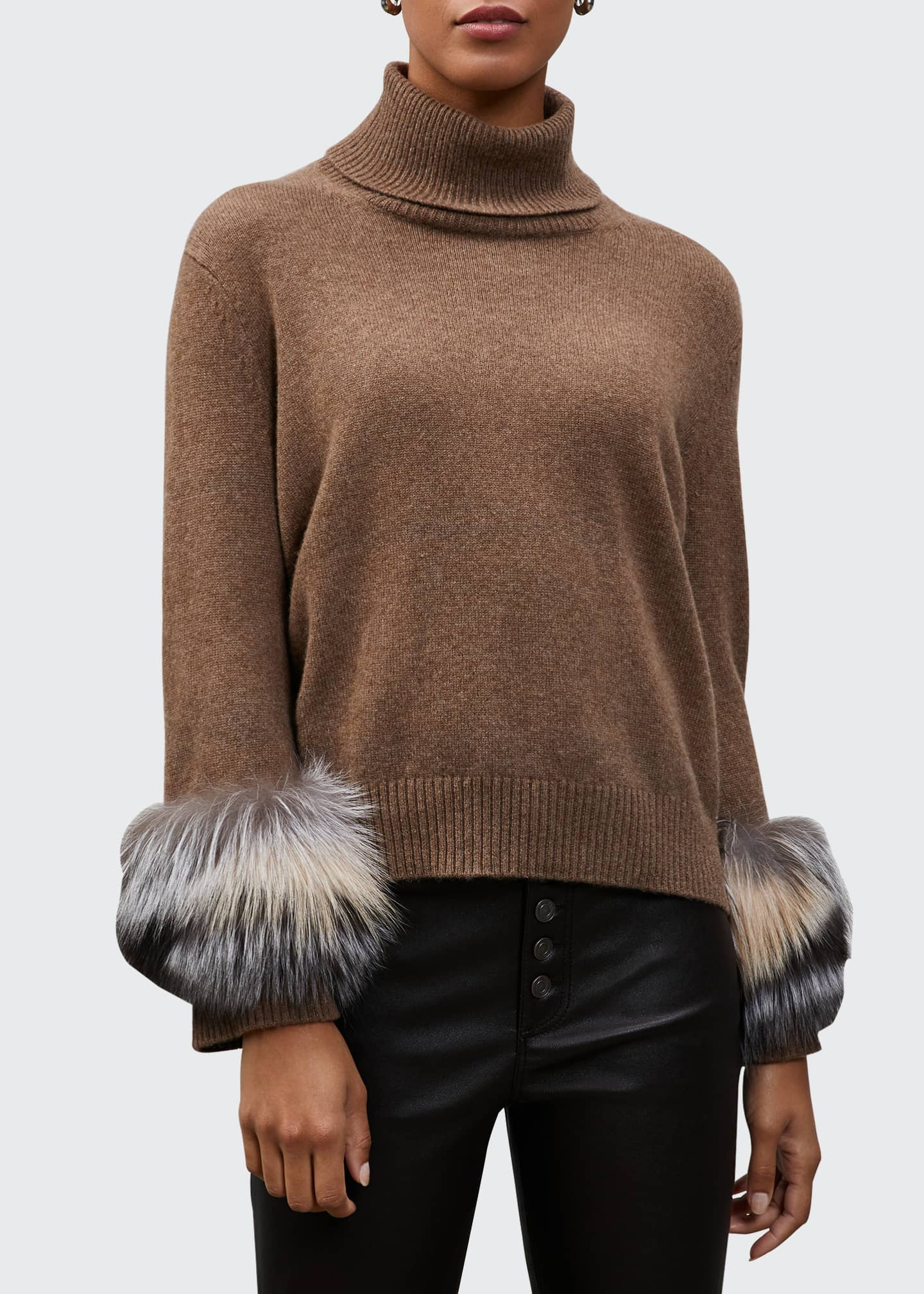 Image 1 of 1: Cashmere Turtleneck Sweater with Fox Fur