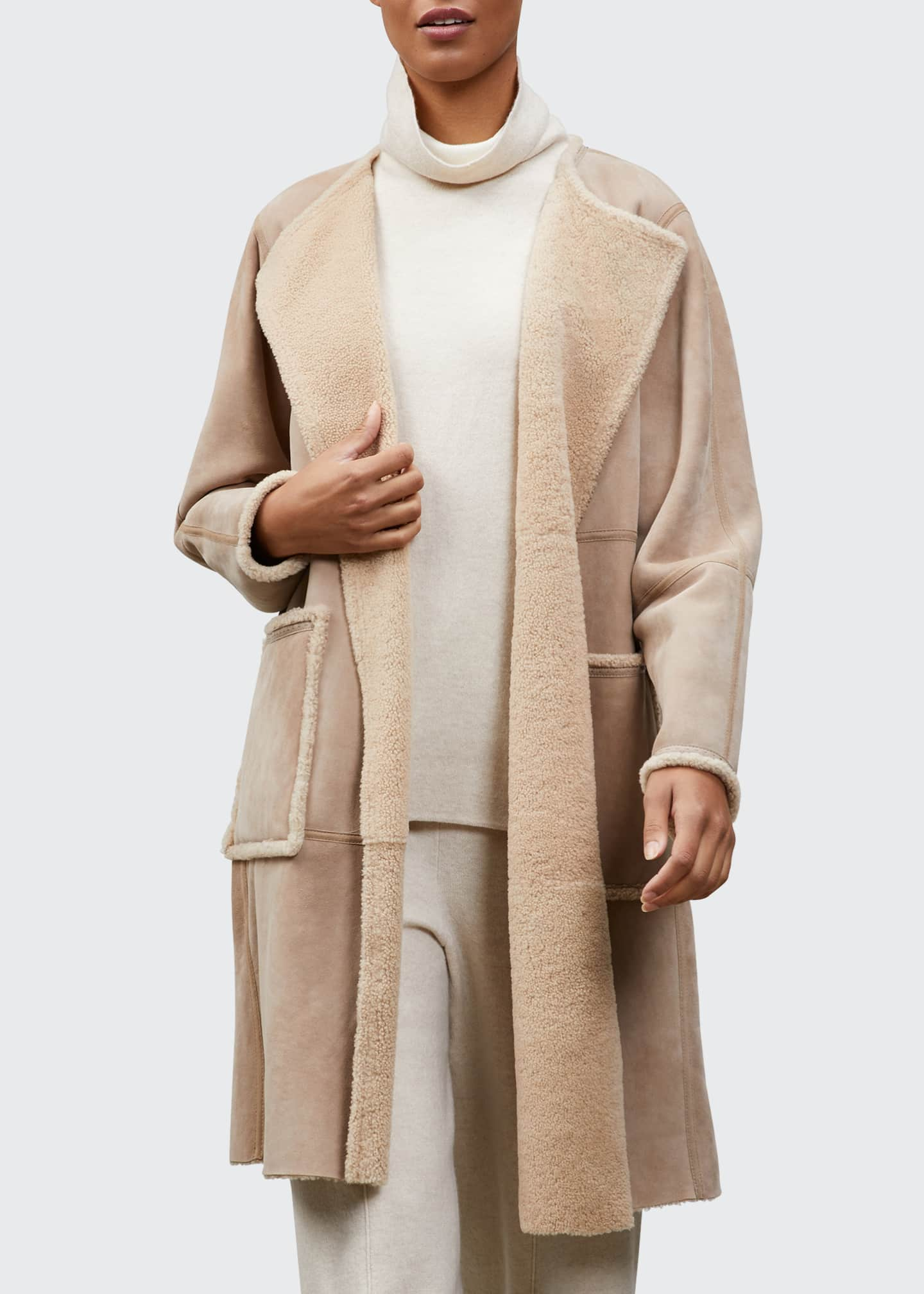 Image 1 of 1: Stephens Reversible Lightweight Italian Shearling Coat