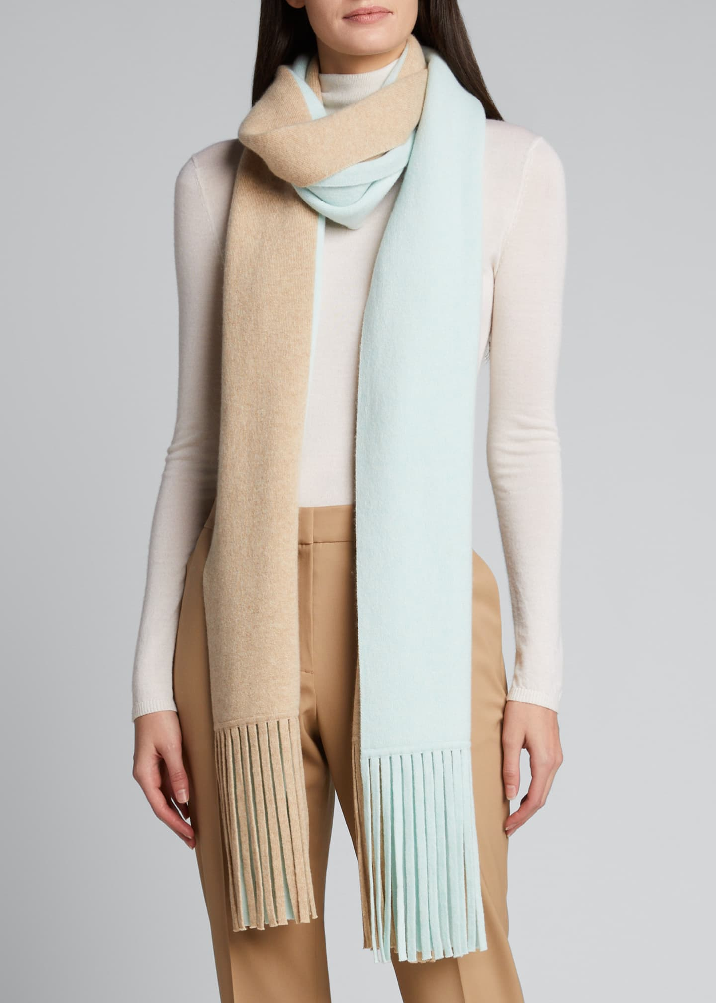 Image 2 of 4: Cashmere Two-Tone Long Scarf