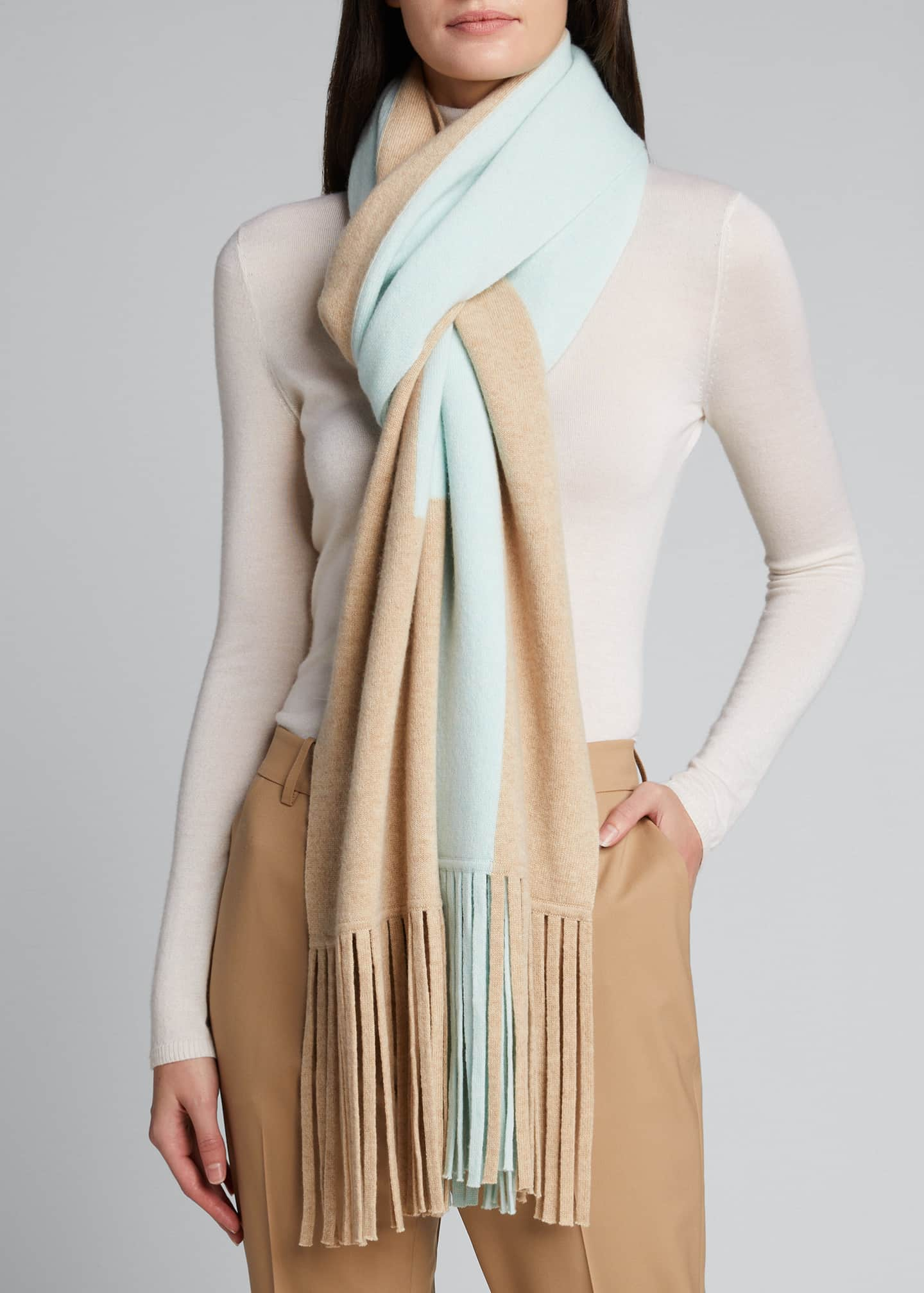 Image 3 of 4: Cashmere Two-Tone Long Scarf