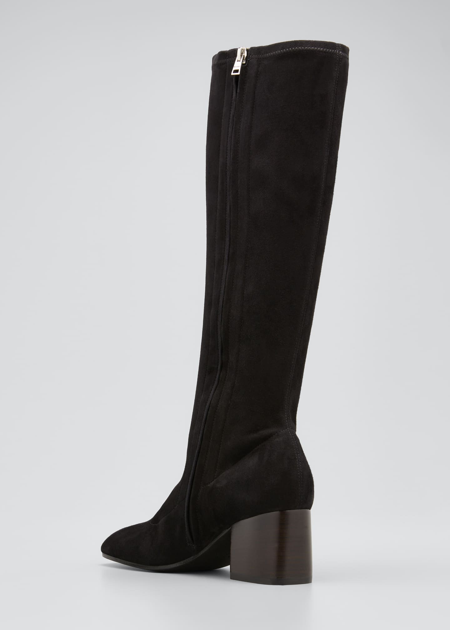 Image 4 of 5: Stretch Suede Zip Knee Boots
