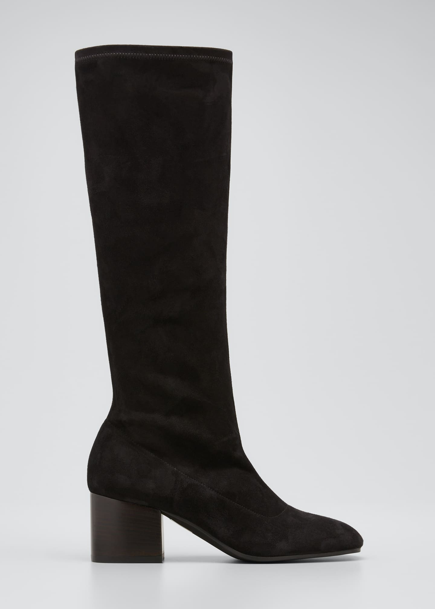 Image 1 of 5: Stretch Suede Zip Knee Boots